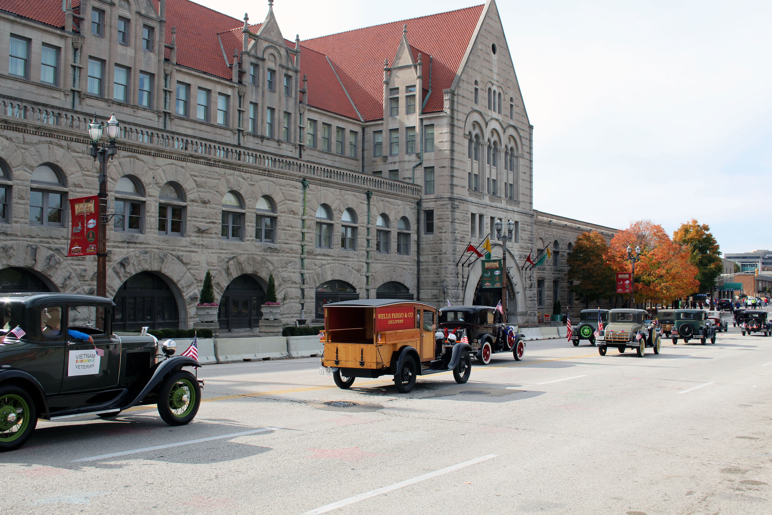 Model A's parading in front of Union Station in St. Louis, MO