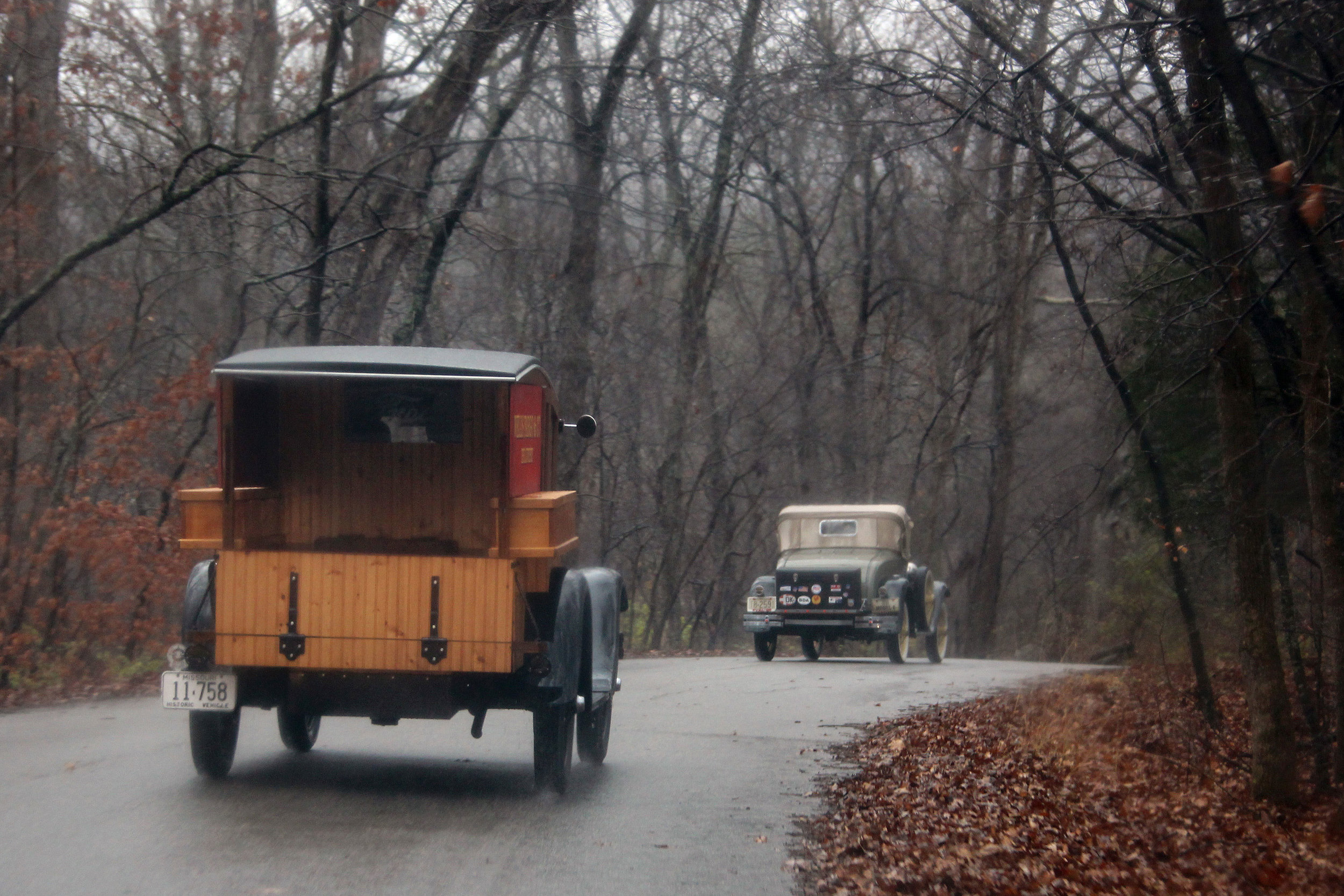 The Peistrups and the Burks Model A's en route to the event regardless of the rain