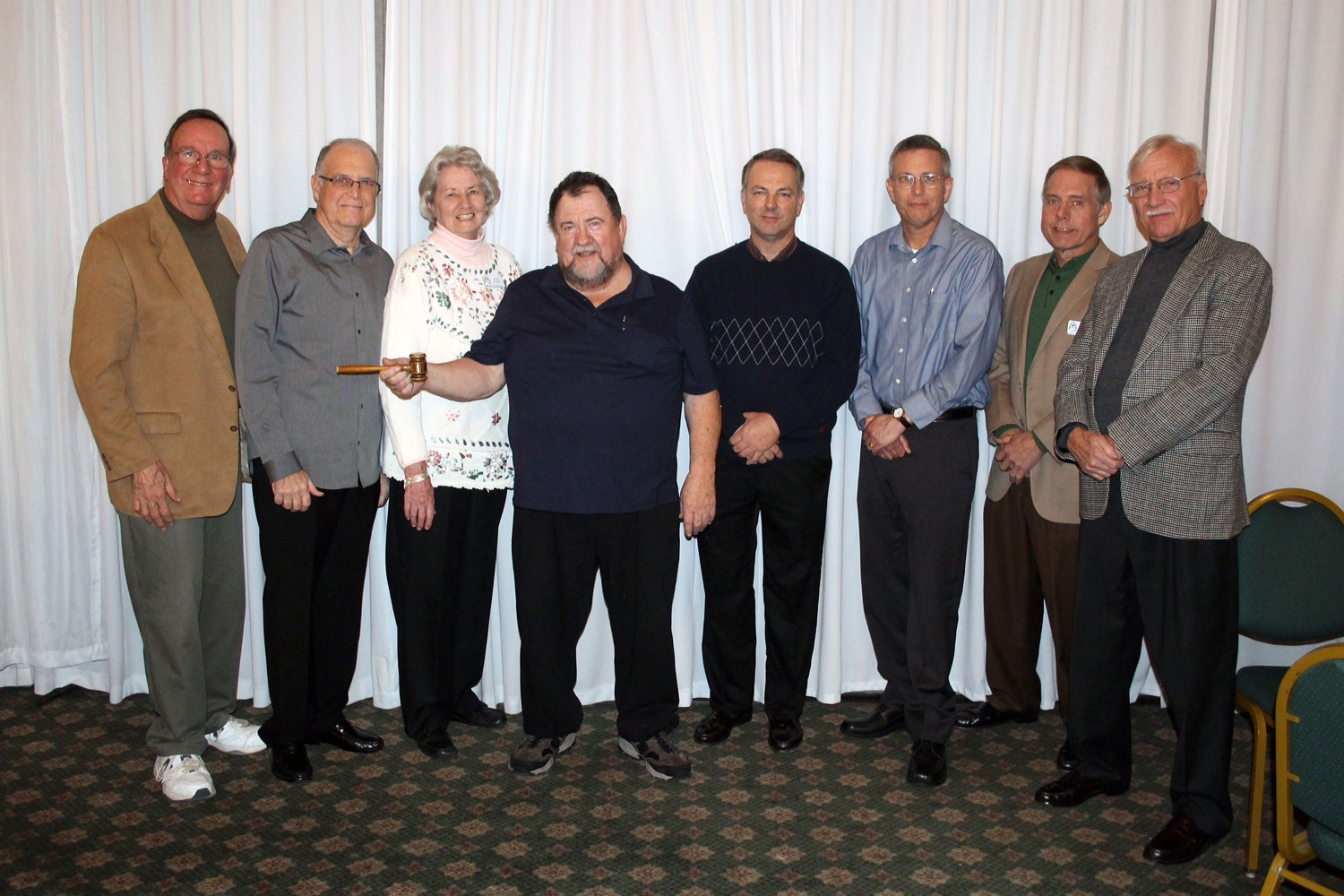 New 2017 officers - outgoing Pres Fred Burk, Treasurer Dave Hitt, Secretary Alice Schott, new Pres John Gibbons, board member Larry Shepard, VP Darrell Sanderson, board memberGreg Piel and Tom Holtgrave standing in for board member Mike Rolwes