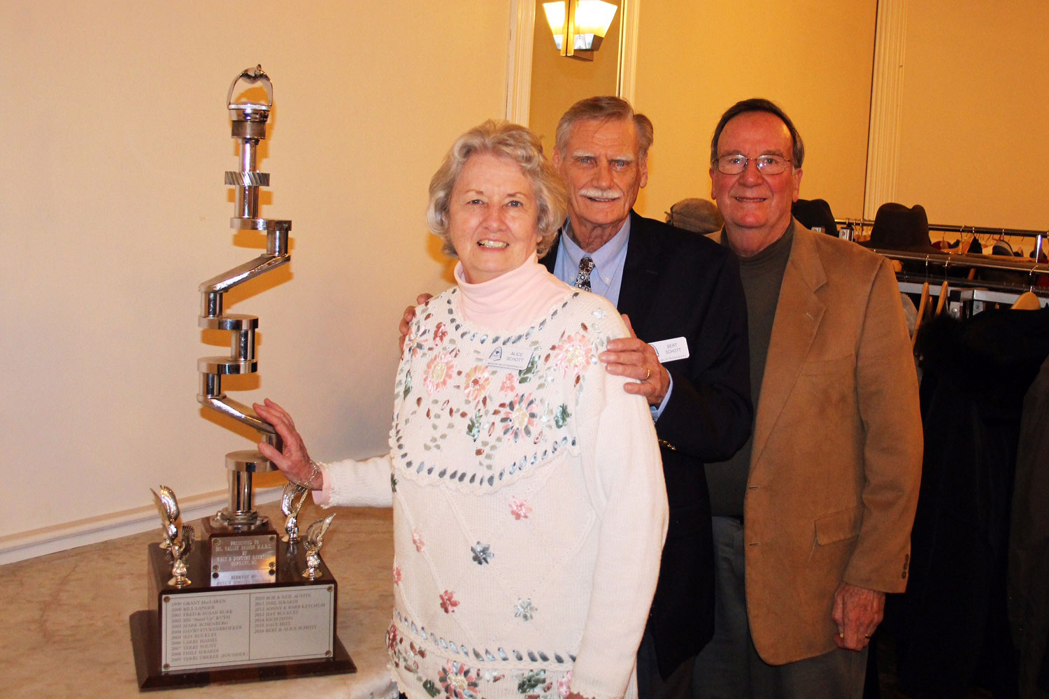 Alice and Bert Schott were chosen for the President's Trophy (Shaft) by Fred Burk