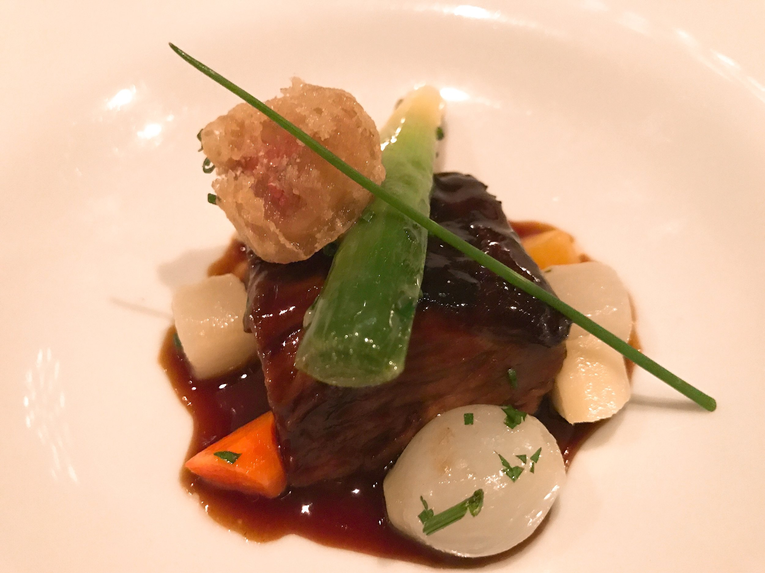 """ Pot Au Feu "":  Beef Short Rib with Root Vegetables and Sauteed Bone Marrow"