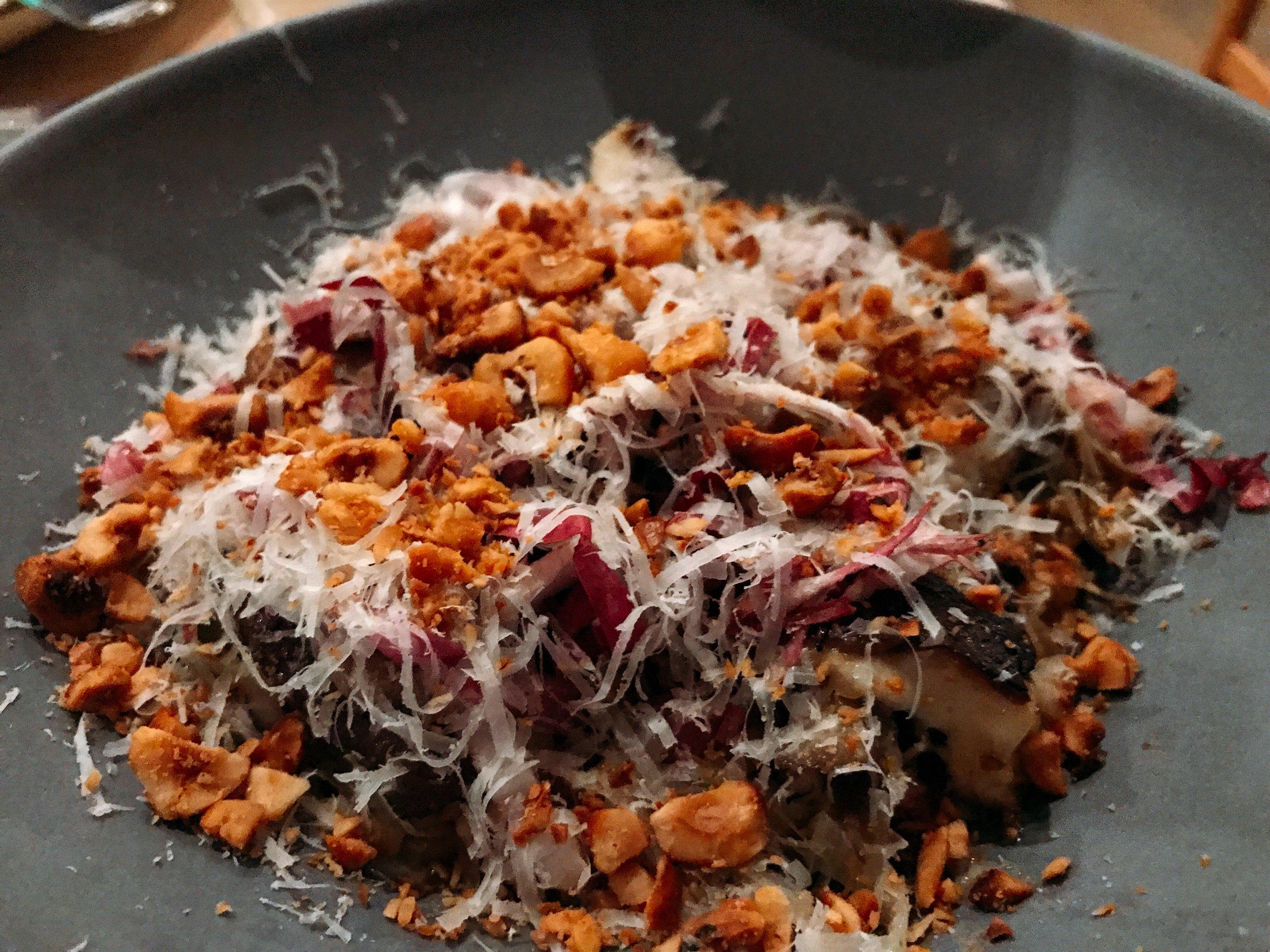 Mushroom Risotto:   Piccolo Faro, Oyster Mushroom, Leeks, Fennel