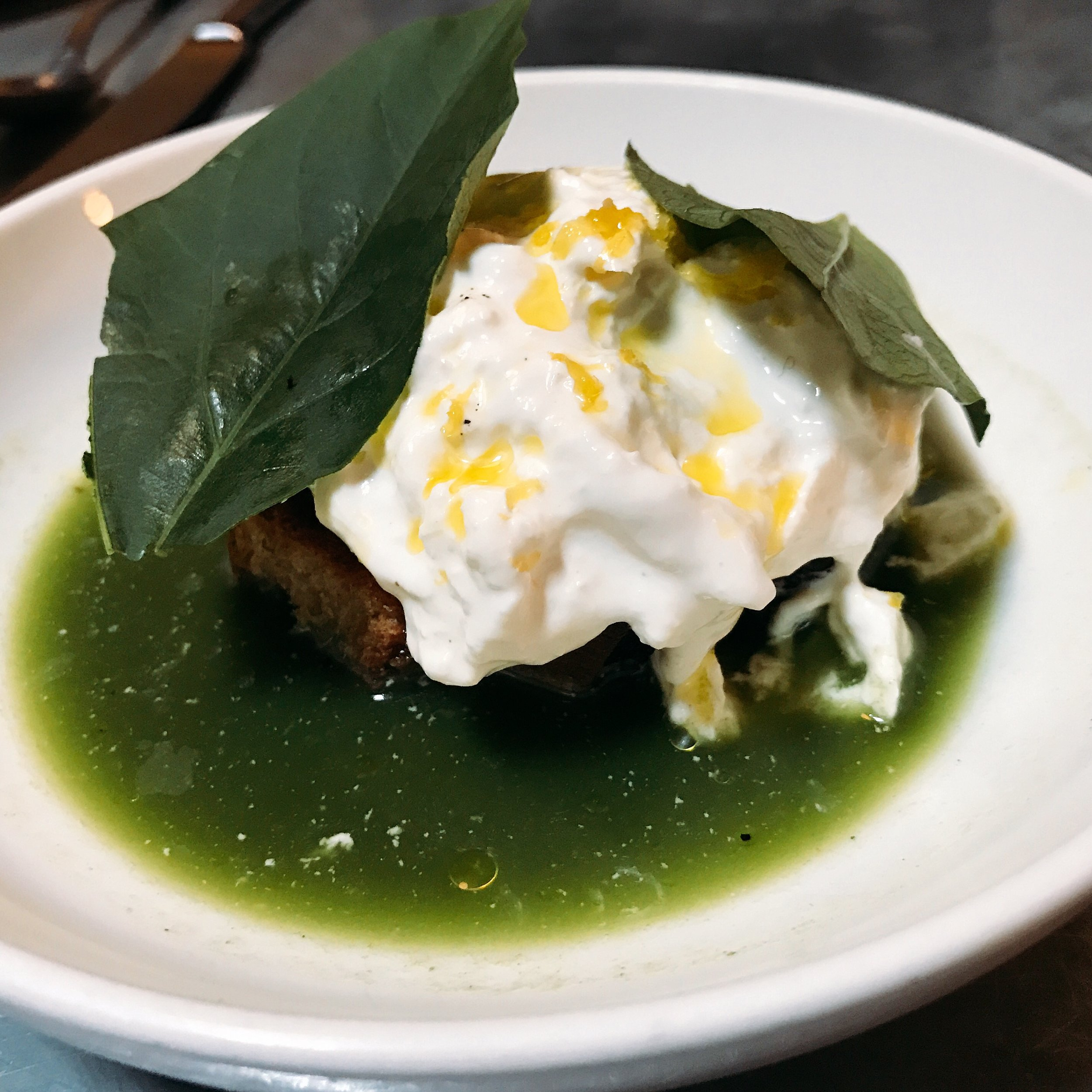 Burrata with Salsa Verde and Charred Bread