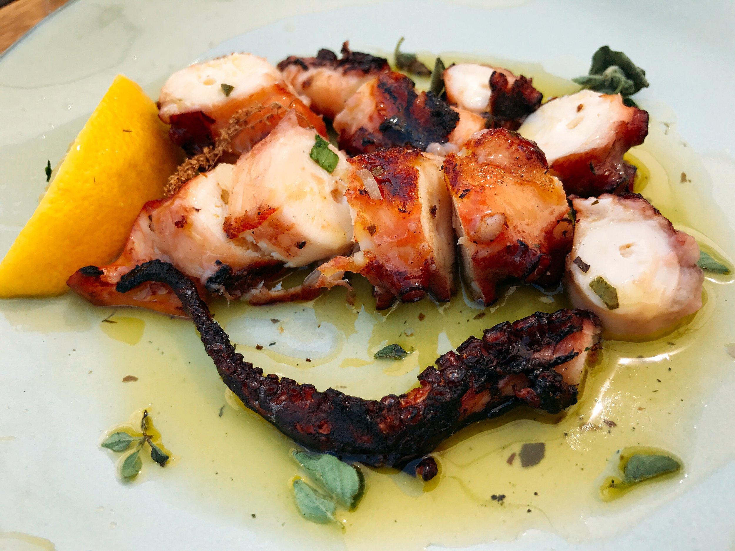Spanish Octopus: Char-grilled Octopus with Lemon Vinaigrette and Oregano Leaves