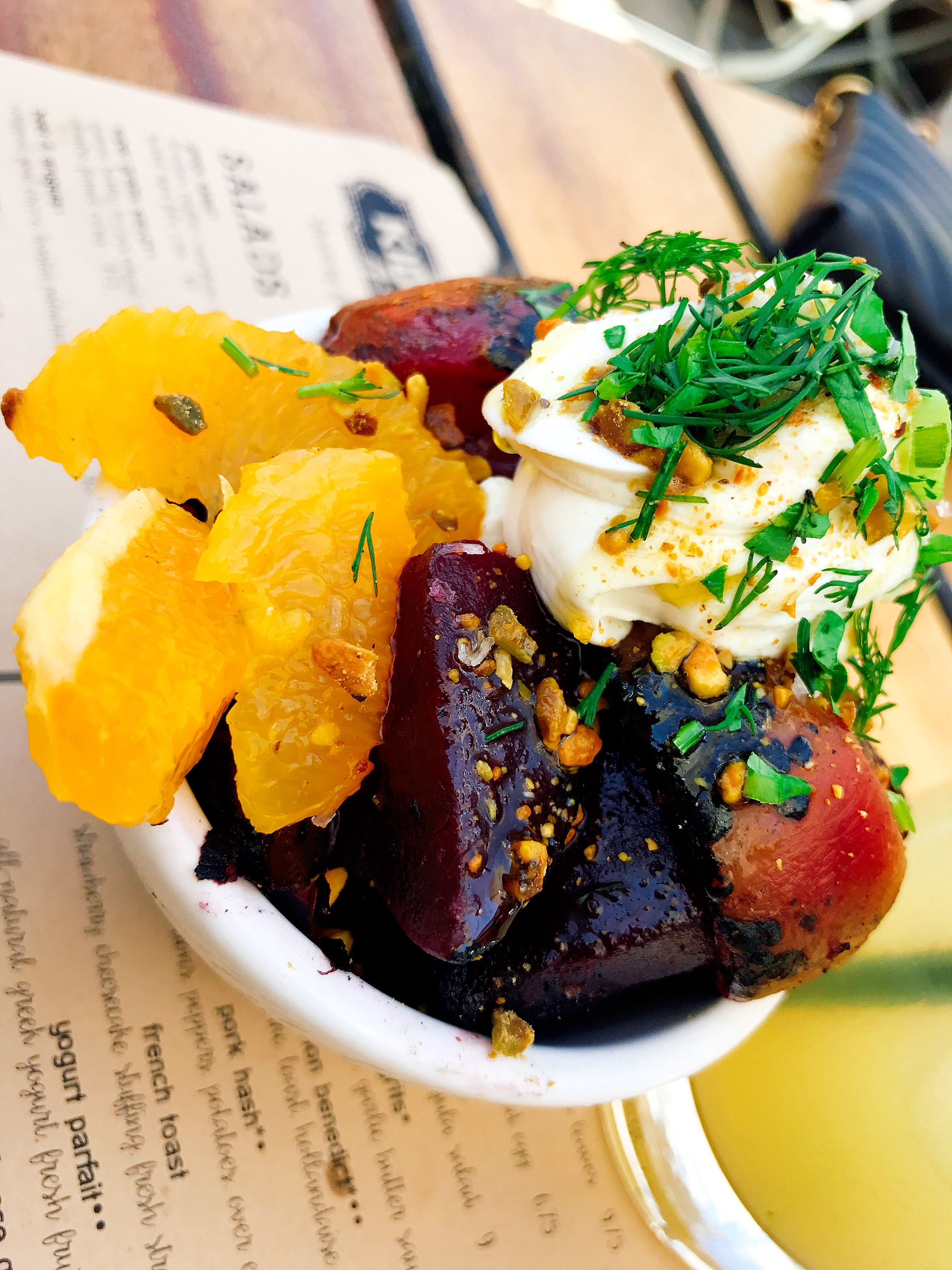 Beets: Whipped Goat Cheese and Toasted Pistachios