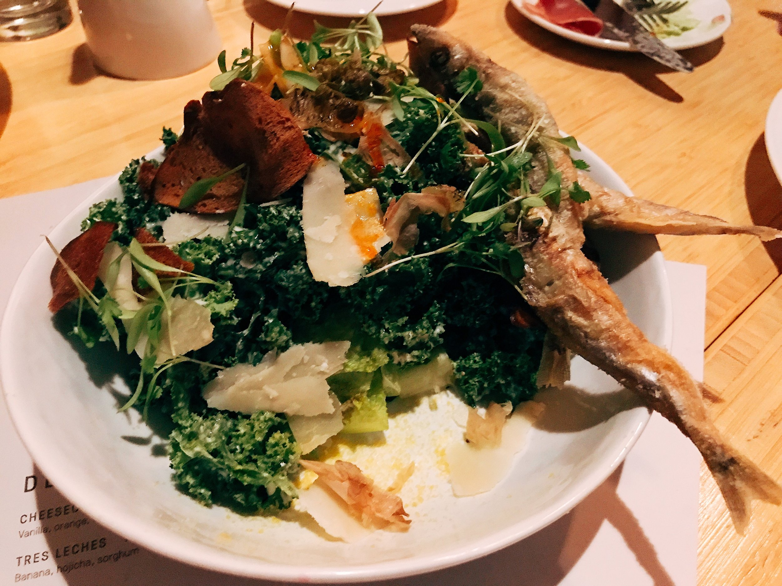 Kale Caesar: Fried Capers, charred lemon, smelt