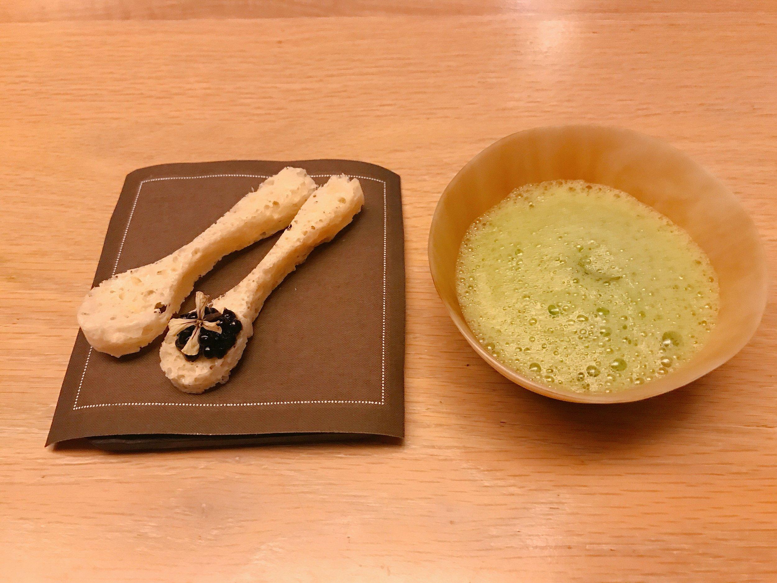 Parmesan Spoons with Basil Concoction
