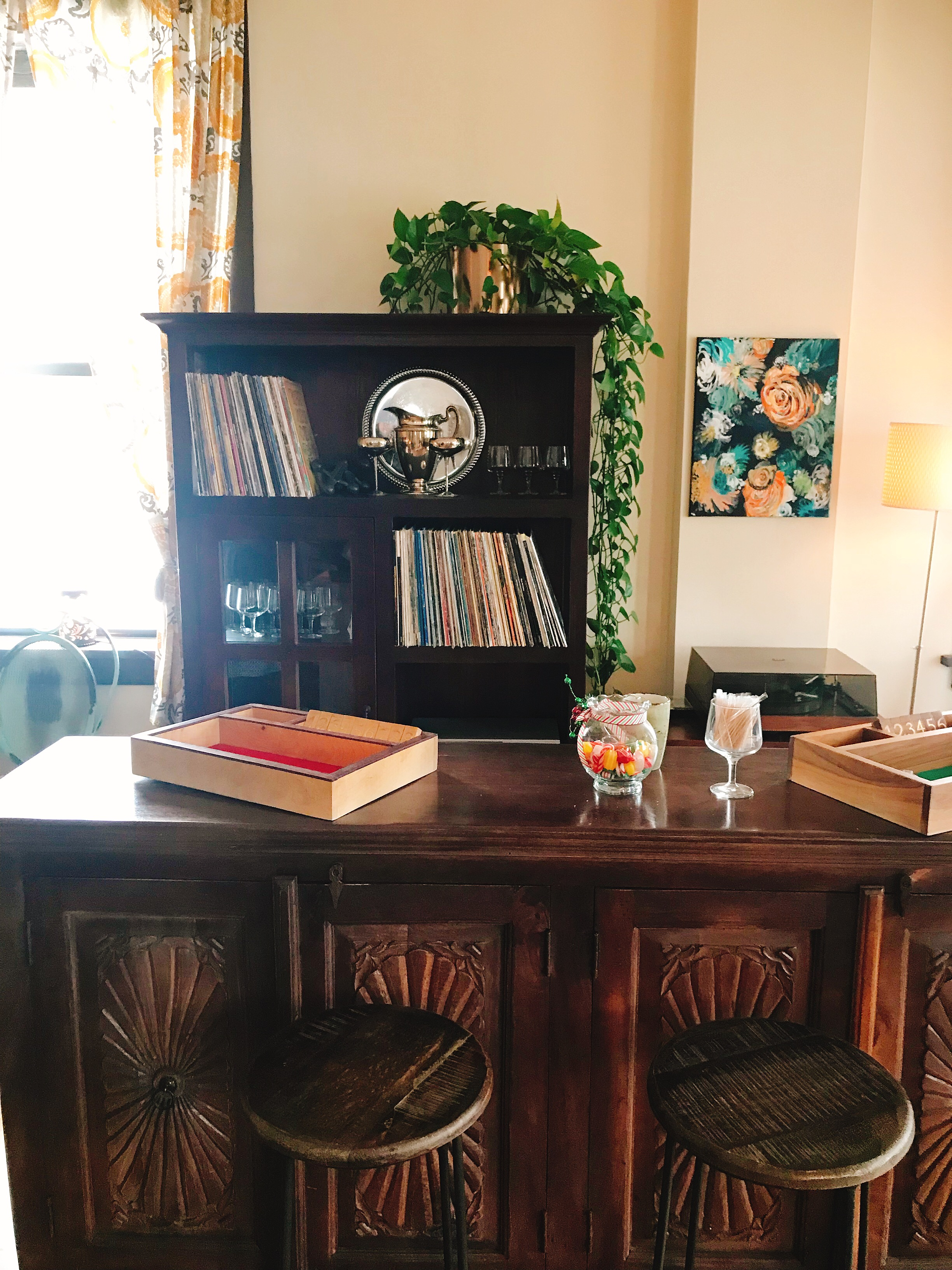Band of Bohemia parlor complete with turntable and extensive vinyl selection