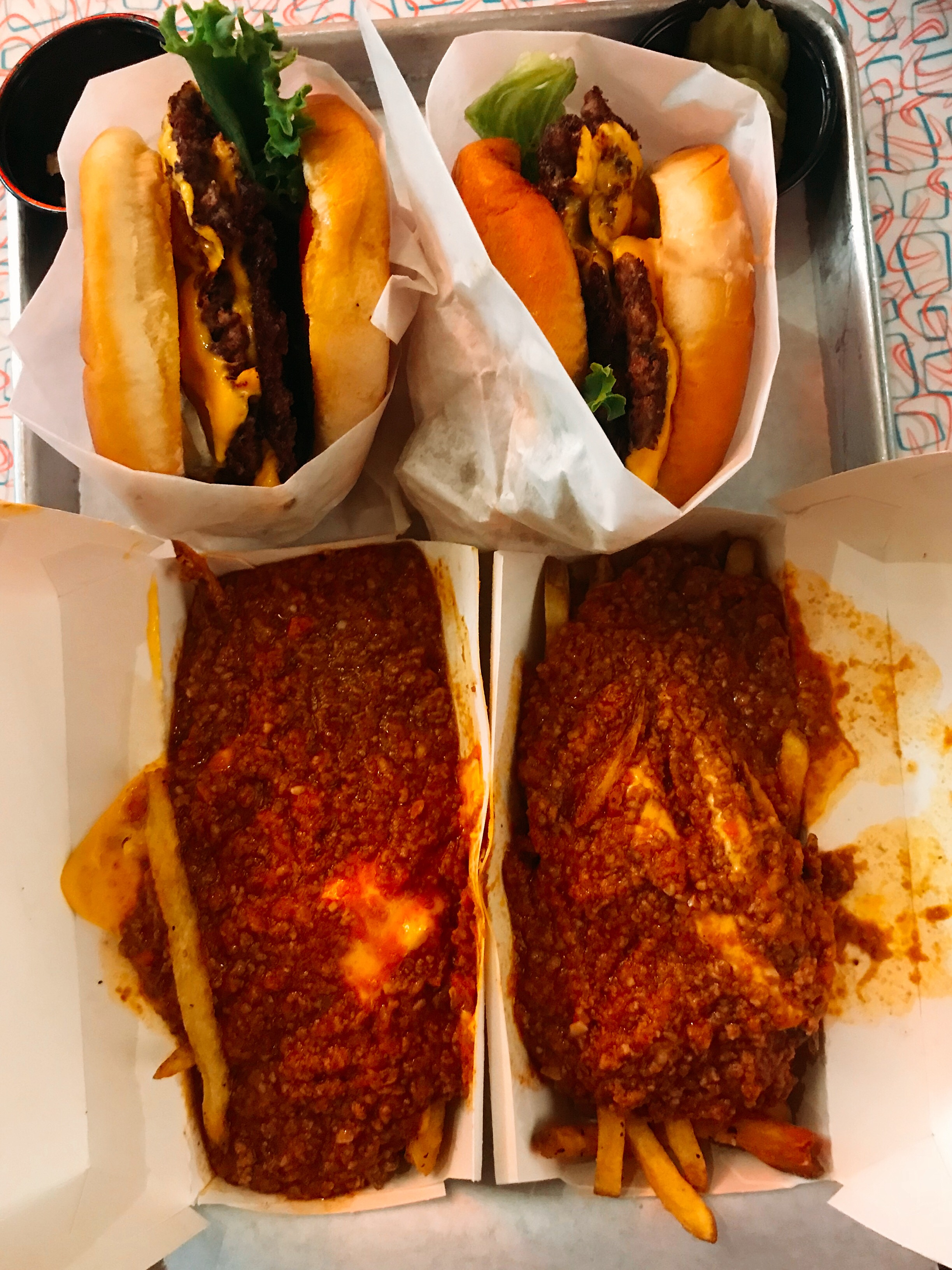 Double Cheeseburgers and Chili Cheese Fries with Extra Cheese... Yes EXTRA!