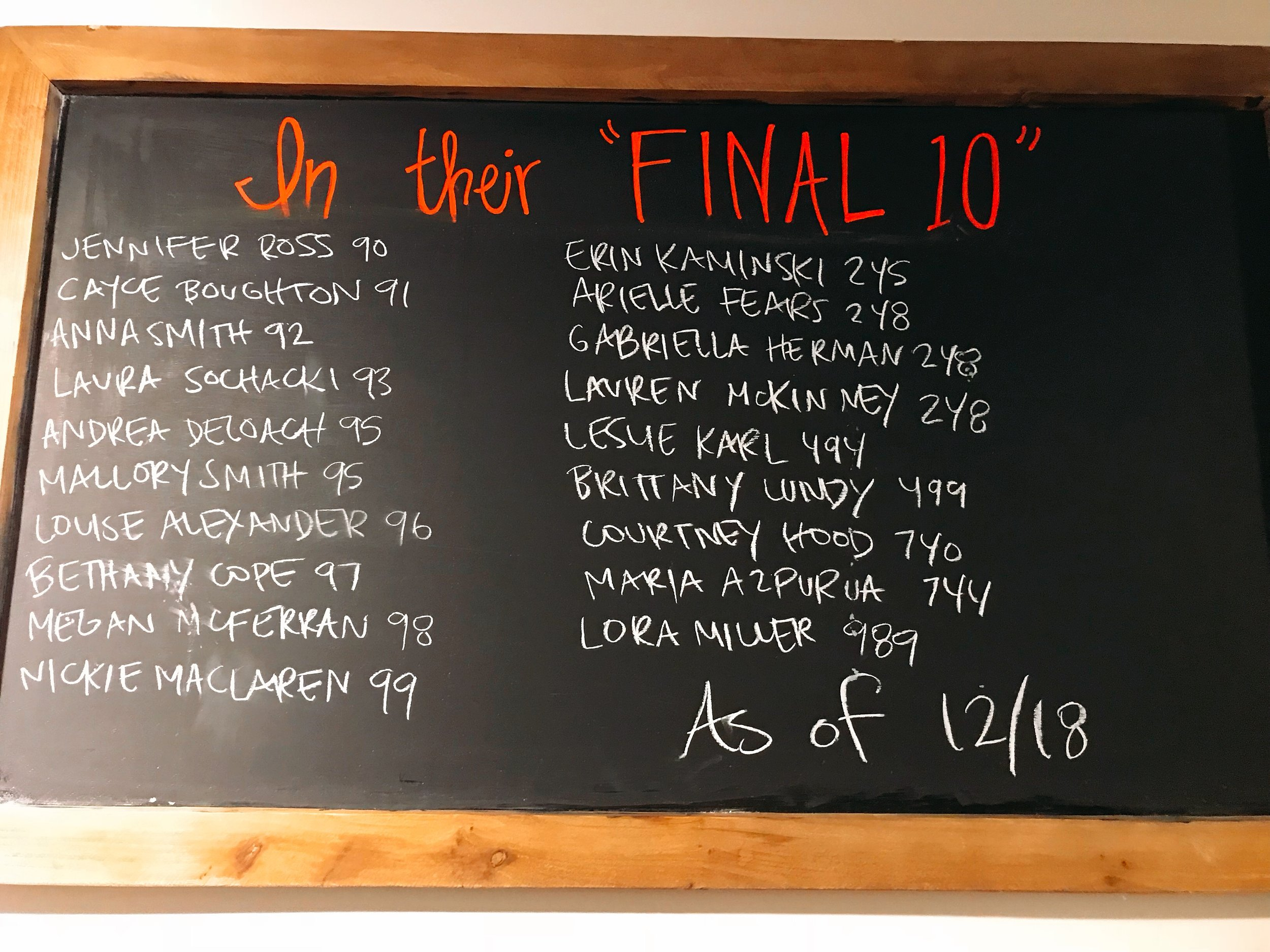 The Final Ten Board at Pure Barre Nashville- Helping Me Count Down To 750!
