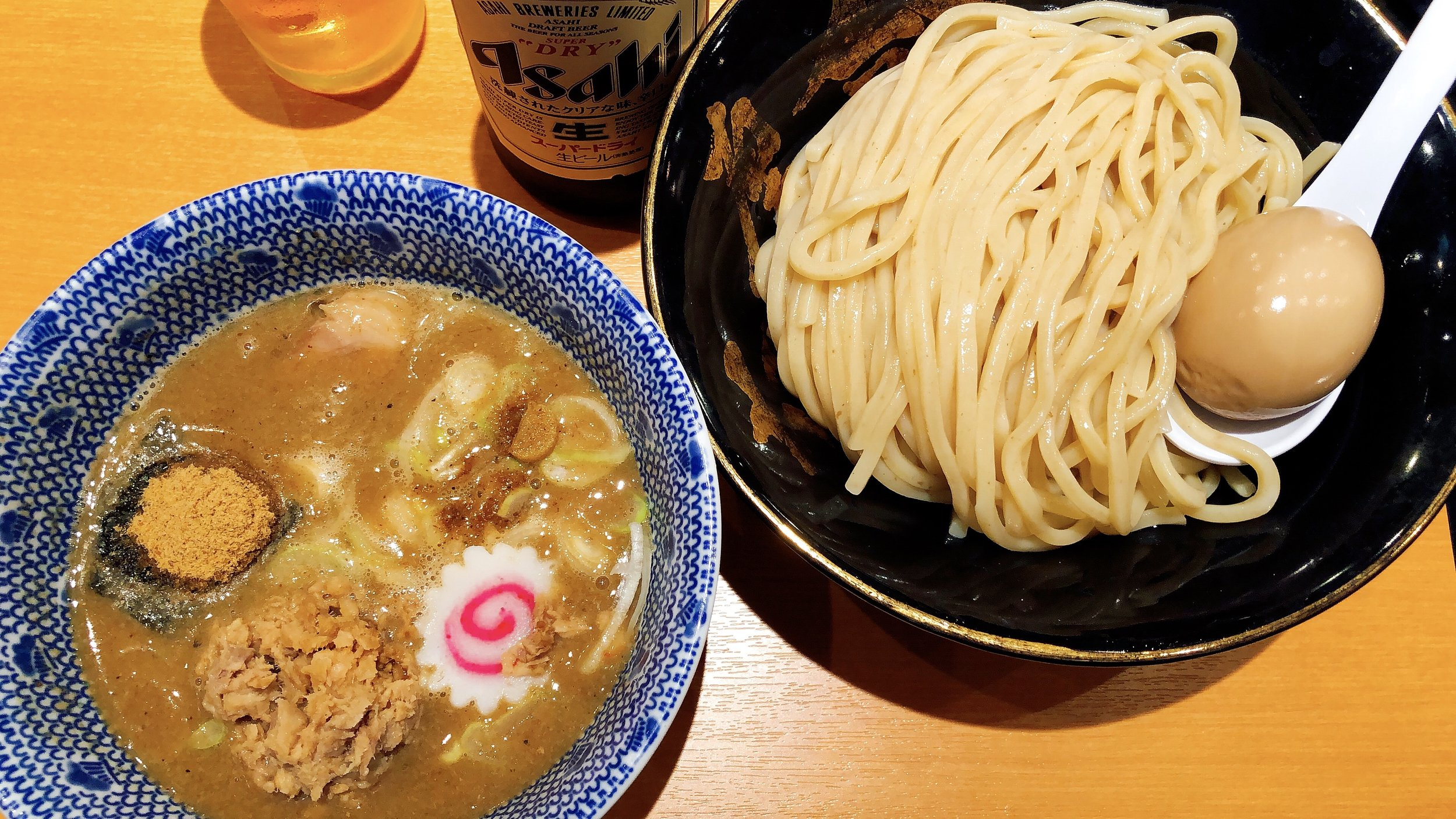 Featured Above: Tsukeme With A Traditional Asahi Beer