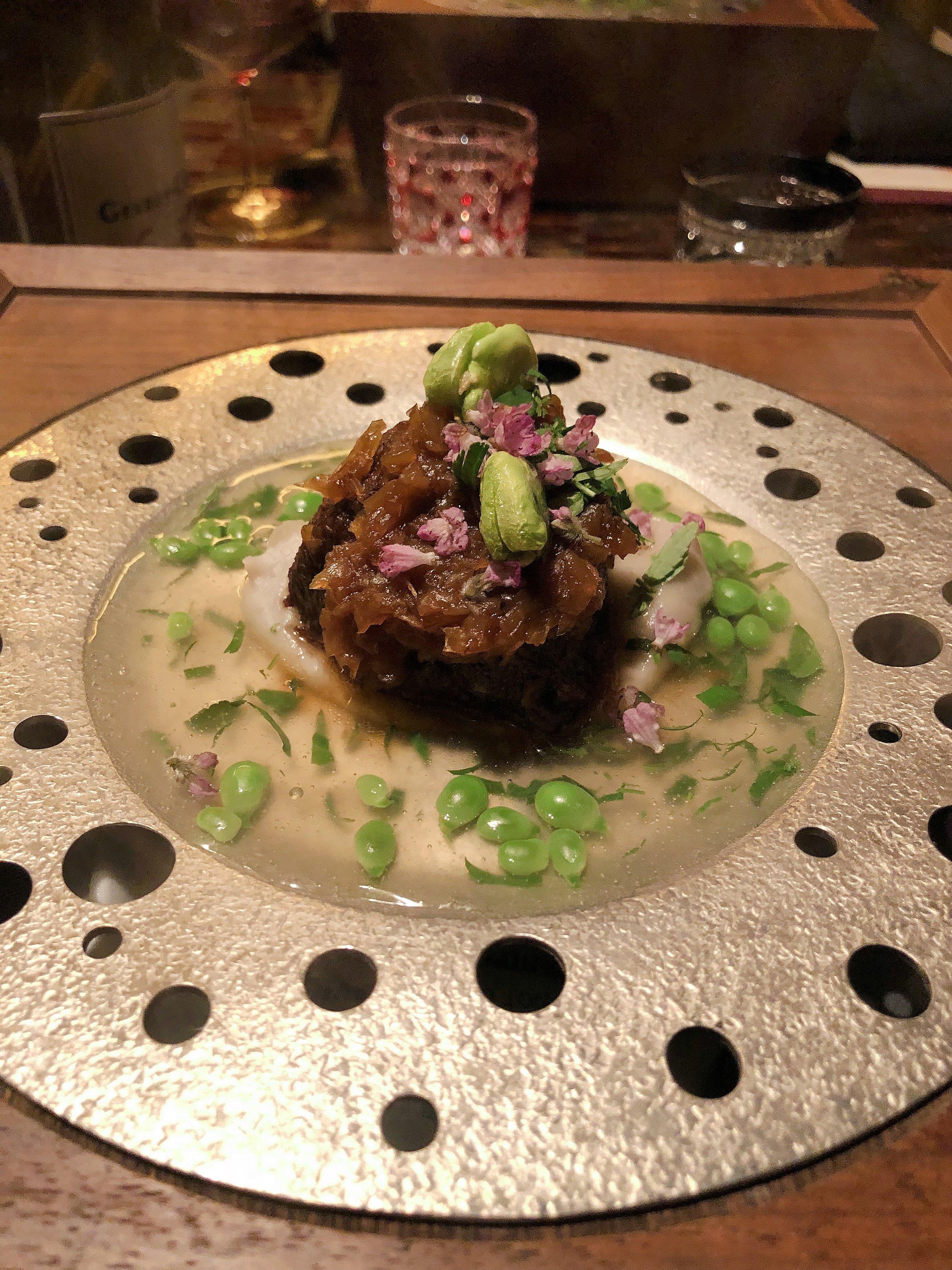 "Sanuki ""Olive Beef"" Featured Cheek Meat, Shrimp-Shaped Taro, Young Peas and Sansho"