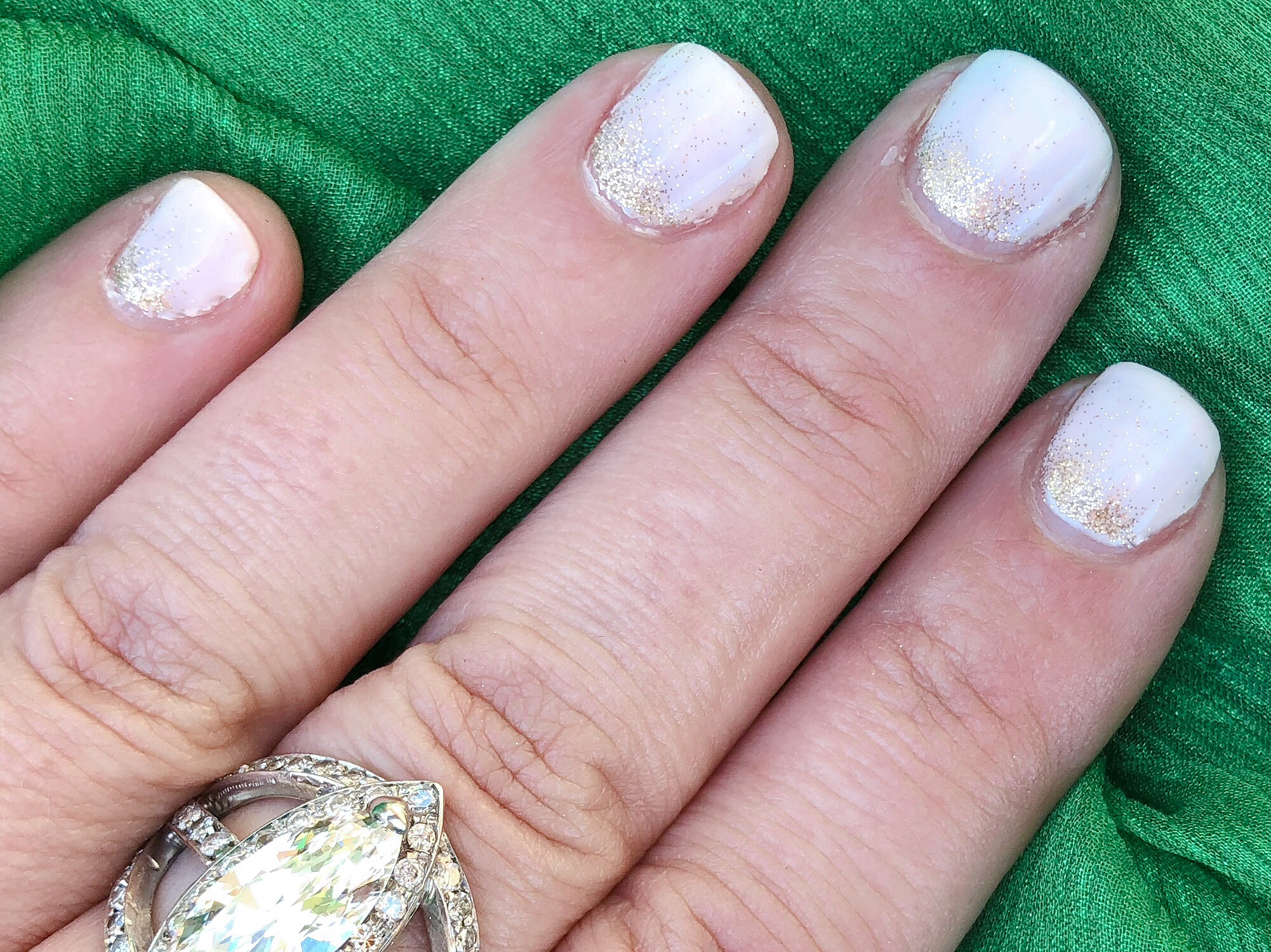 CND Shellac Naked Naivete With Ombre Gold Glitter
