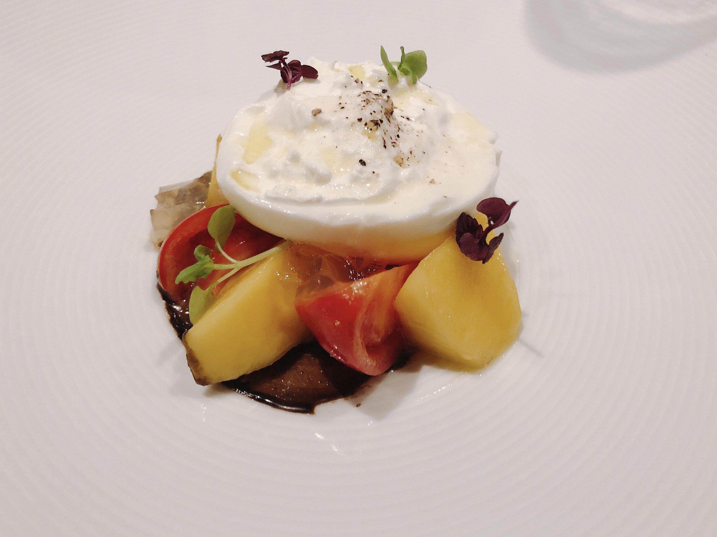 Burrata Cheese + Fresh Mango +Tomato + Aged Balsamic Sesame Puree + Sicilian Olive Oil (Vegetarian Option)