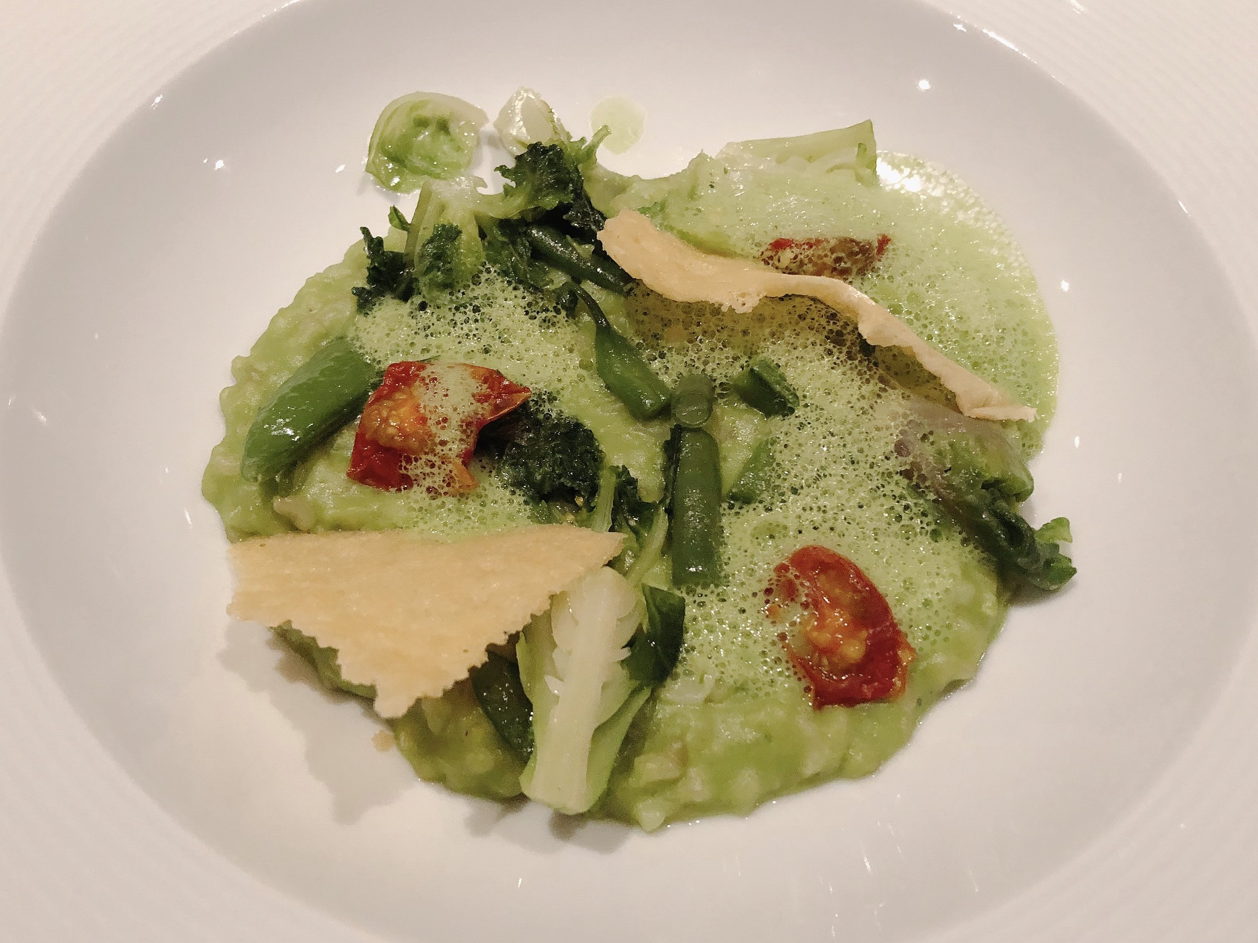 Kyoto Brown Rice Risotto + Spring Vegetables + Pea Foam + Parmesan Crisp (Vegetarian Option)