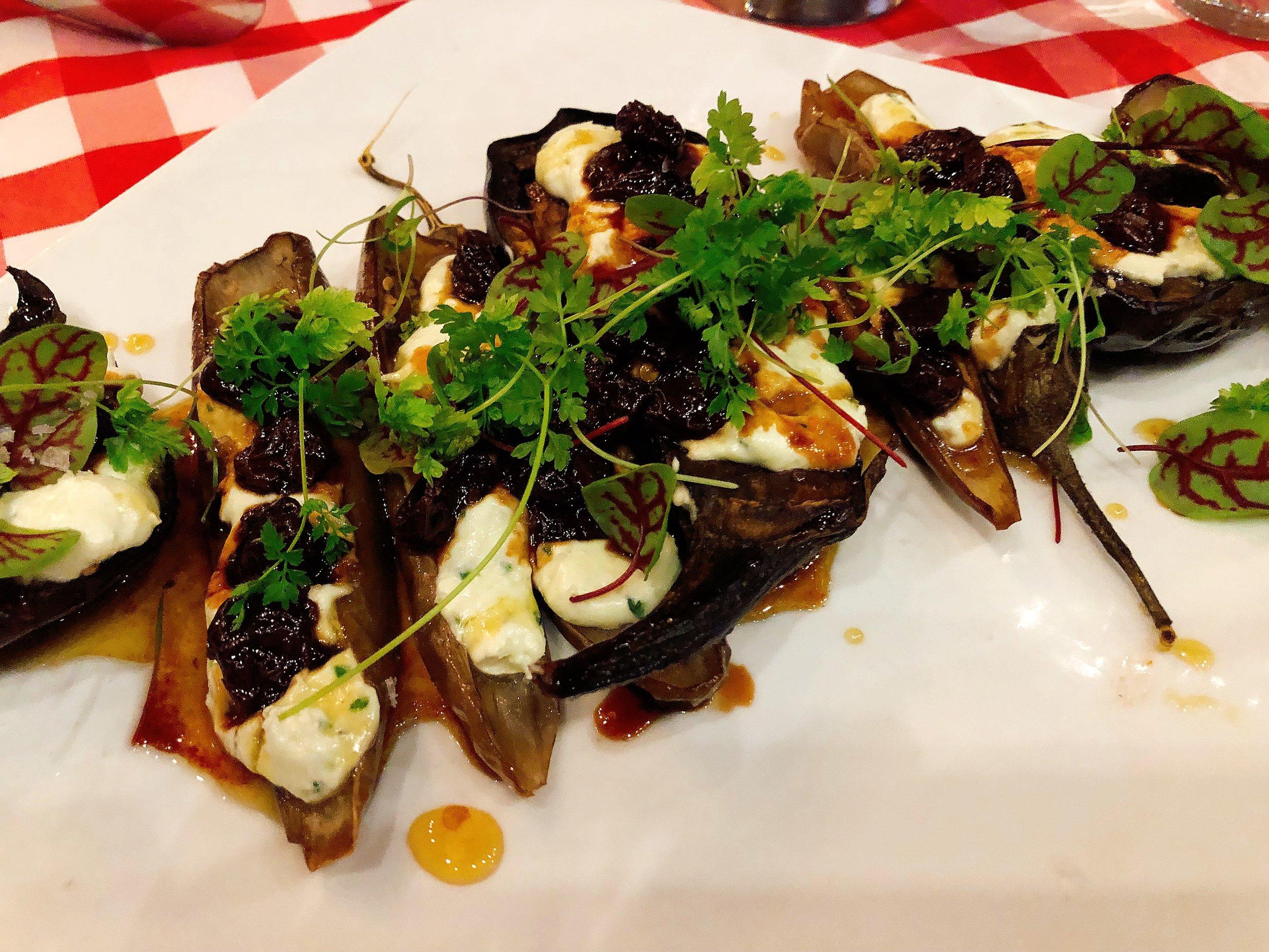 Whipped Feta + Eggplant + Pickled Cherries
