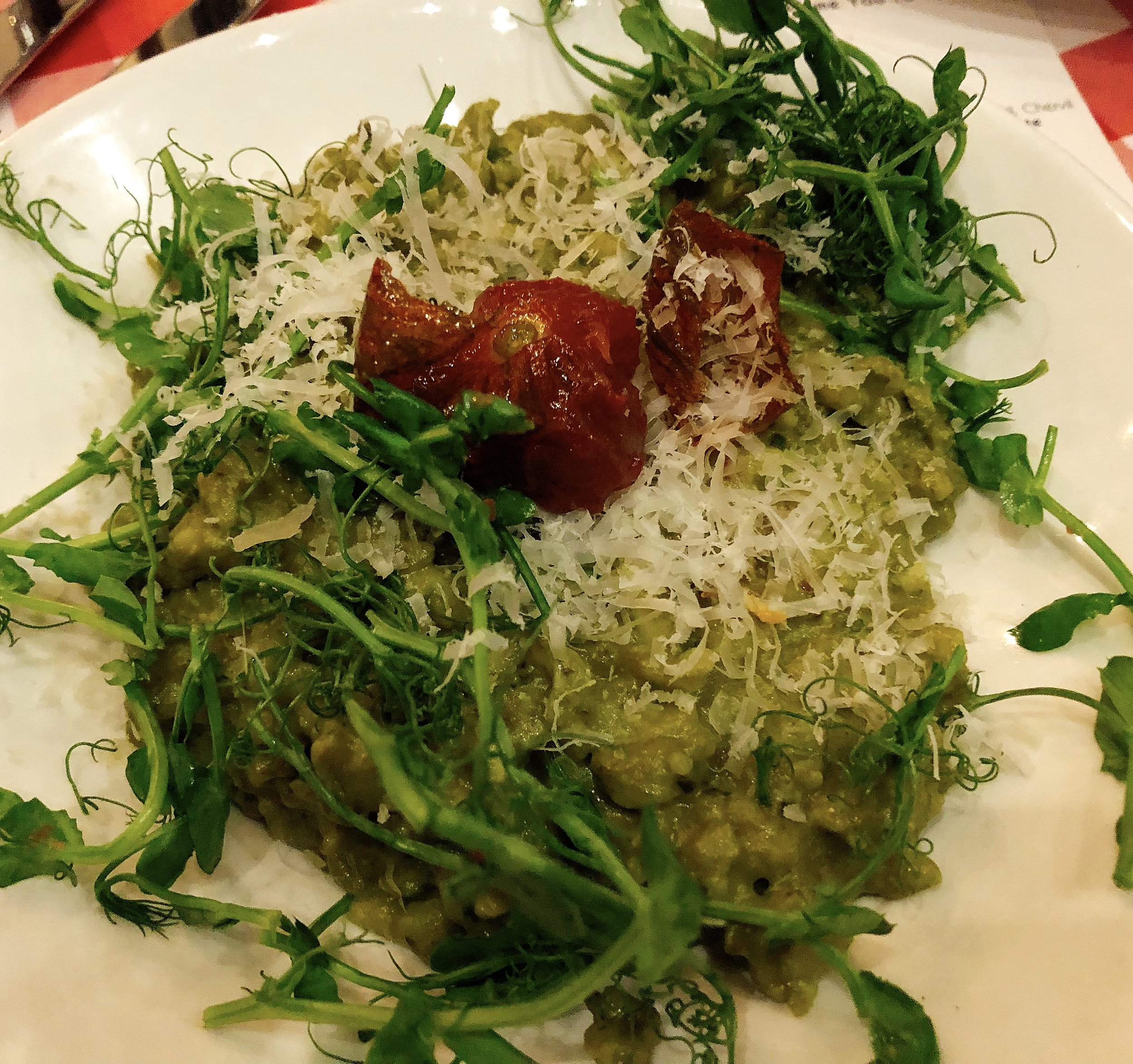 Risotto With A Side Of Spaghetti ( No Meatball): Shallot + Garlic + Chiffonade Baby Spinach + Chive + Parmesean