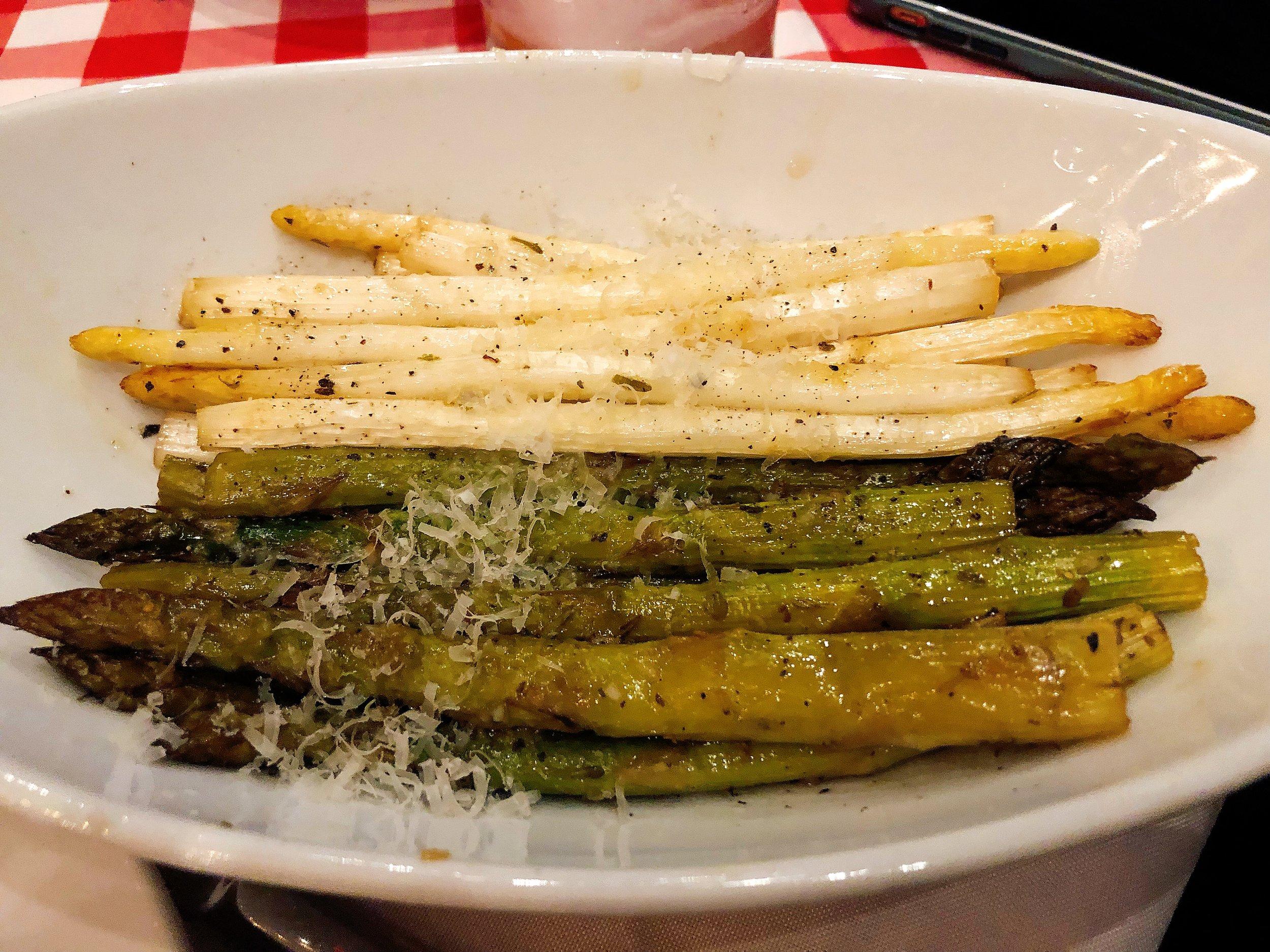 Lemon + Garlic Bourbon Smoked Green + White Asparagus