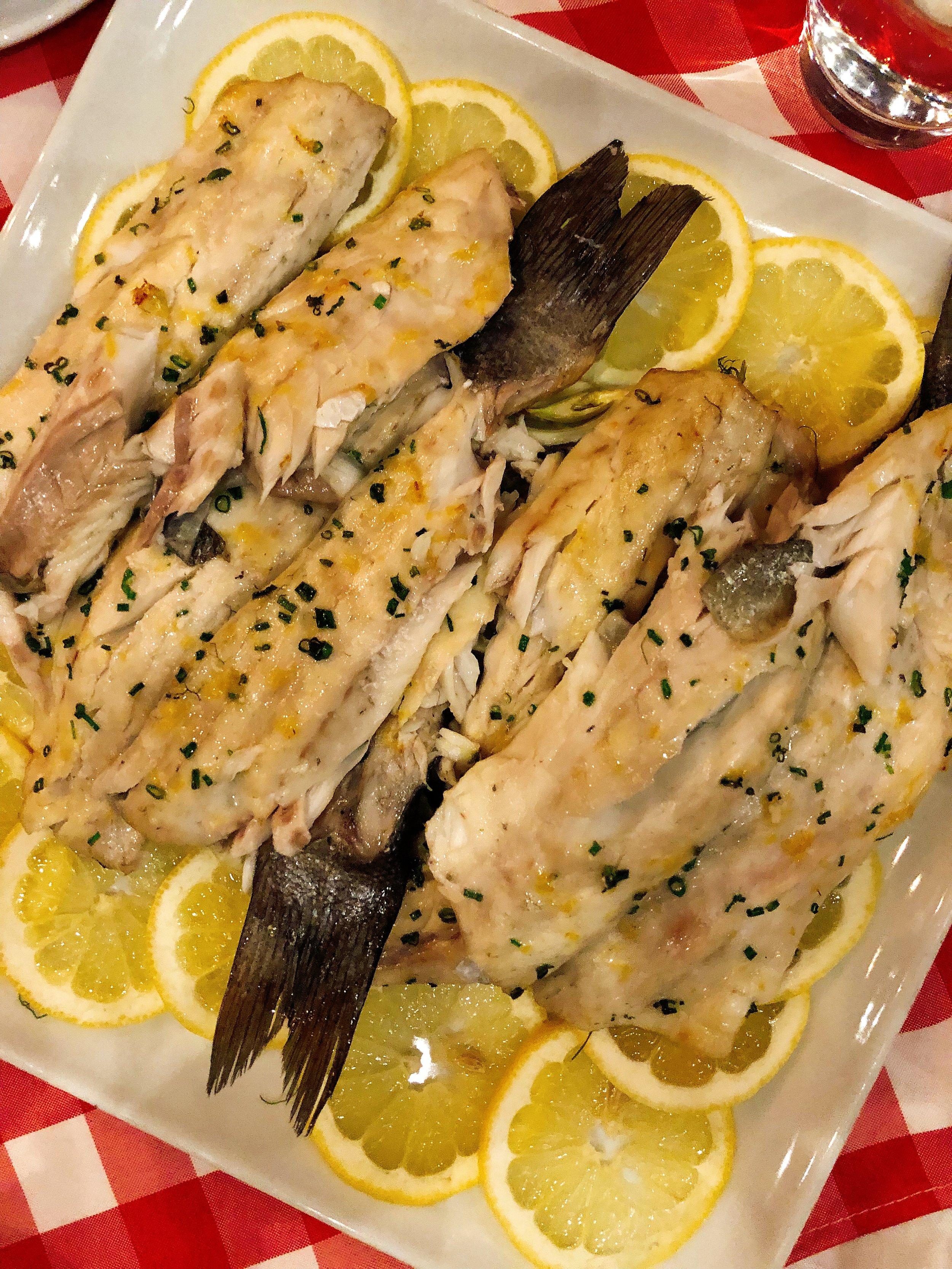 Branzino : Sliced Lemon + Shaved Fennel + Garlic + Capers