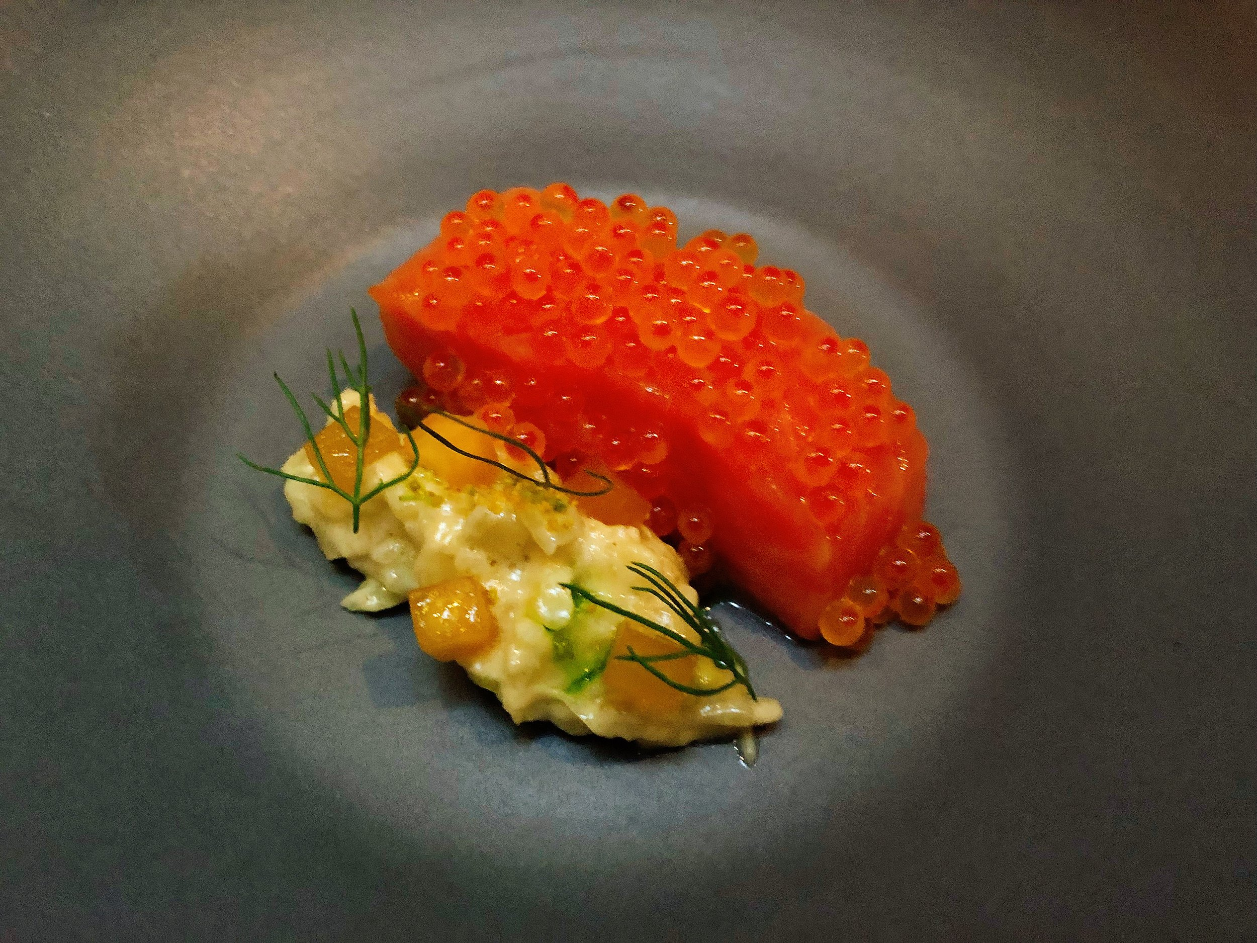 Mt. Lassen Trout And Its Roe + Fennel + Peach + Fig Leaf