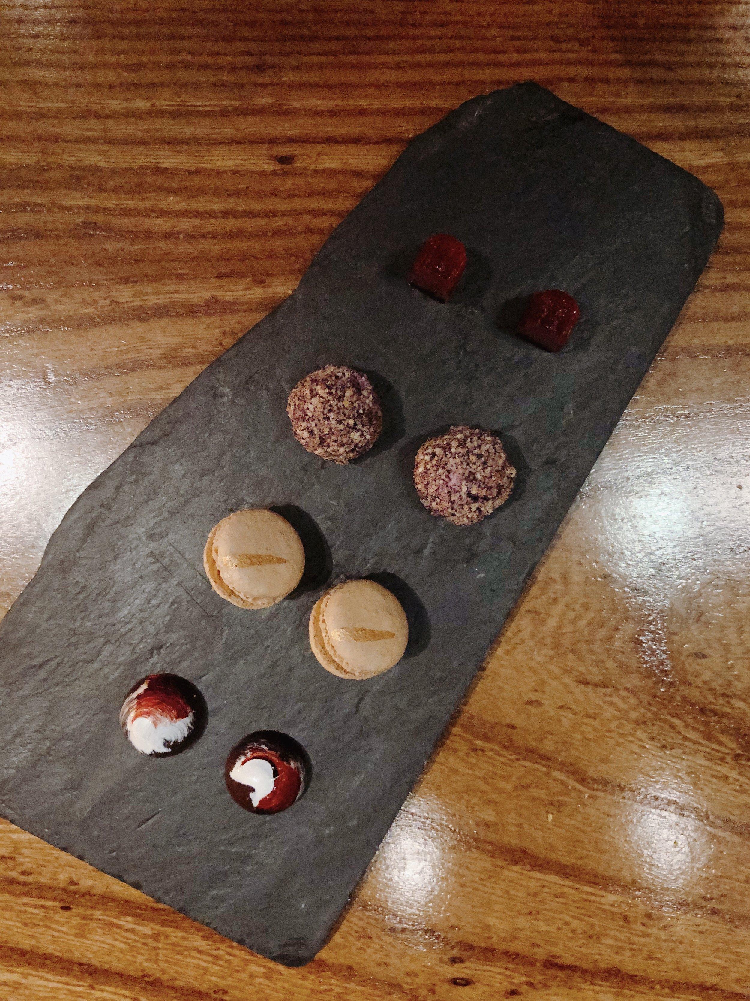 Bottom To Top: Berries N' Cream Bon Bon + Kinako Macaron + Cheesecake Truffle + White Peach Gummy Bear