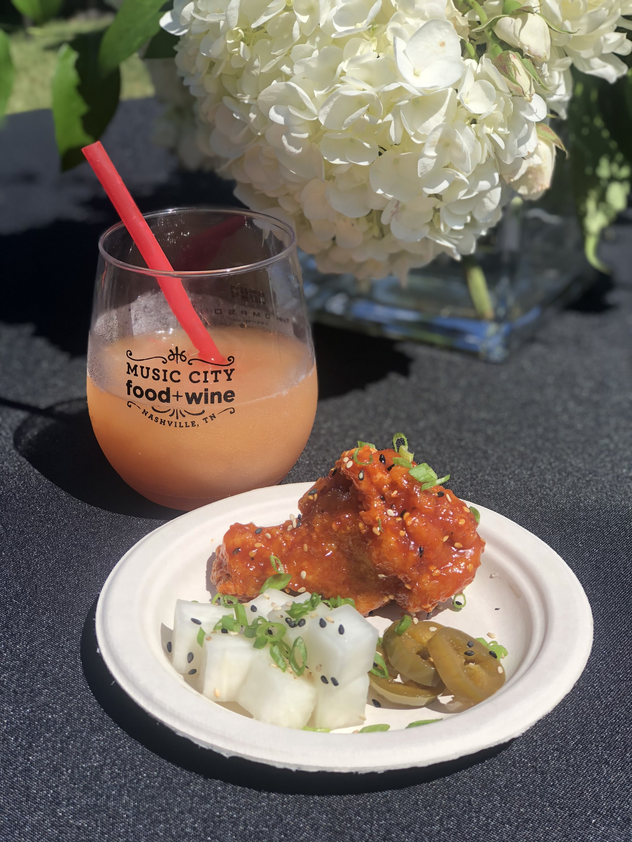 Korean Fried Chicken Served With Pickled Jalapeños and Daikon Radishes