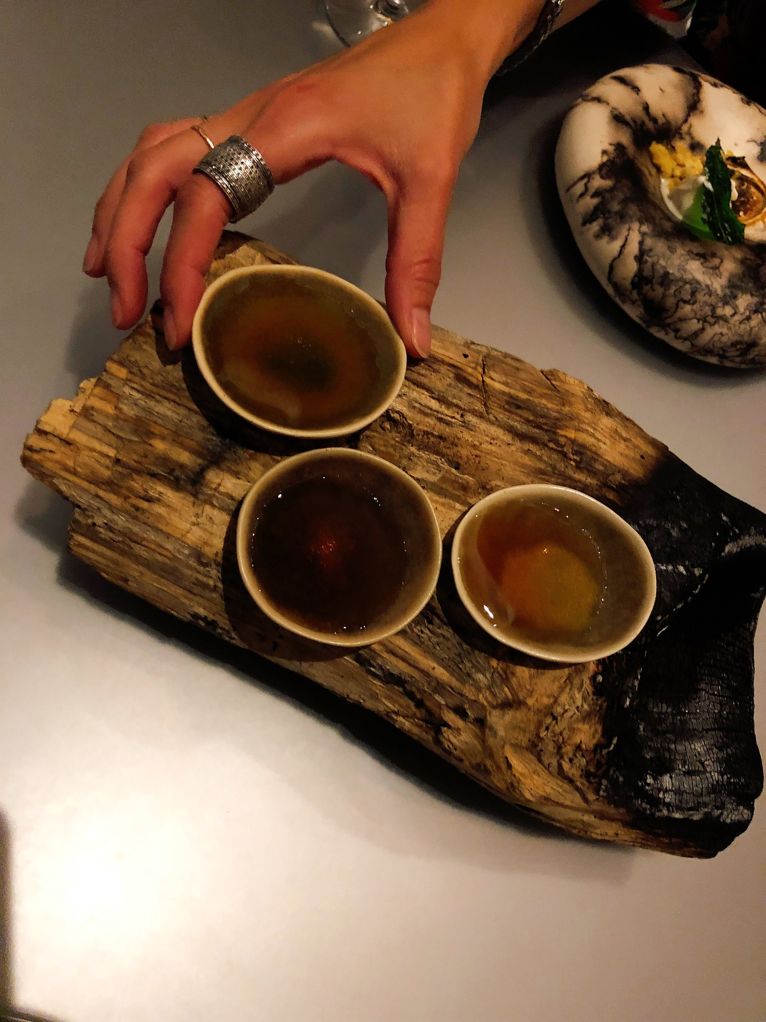 Our Wood Course Was Paired With Cruz De Fuego Mezcal From Oaxaca
