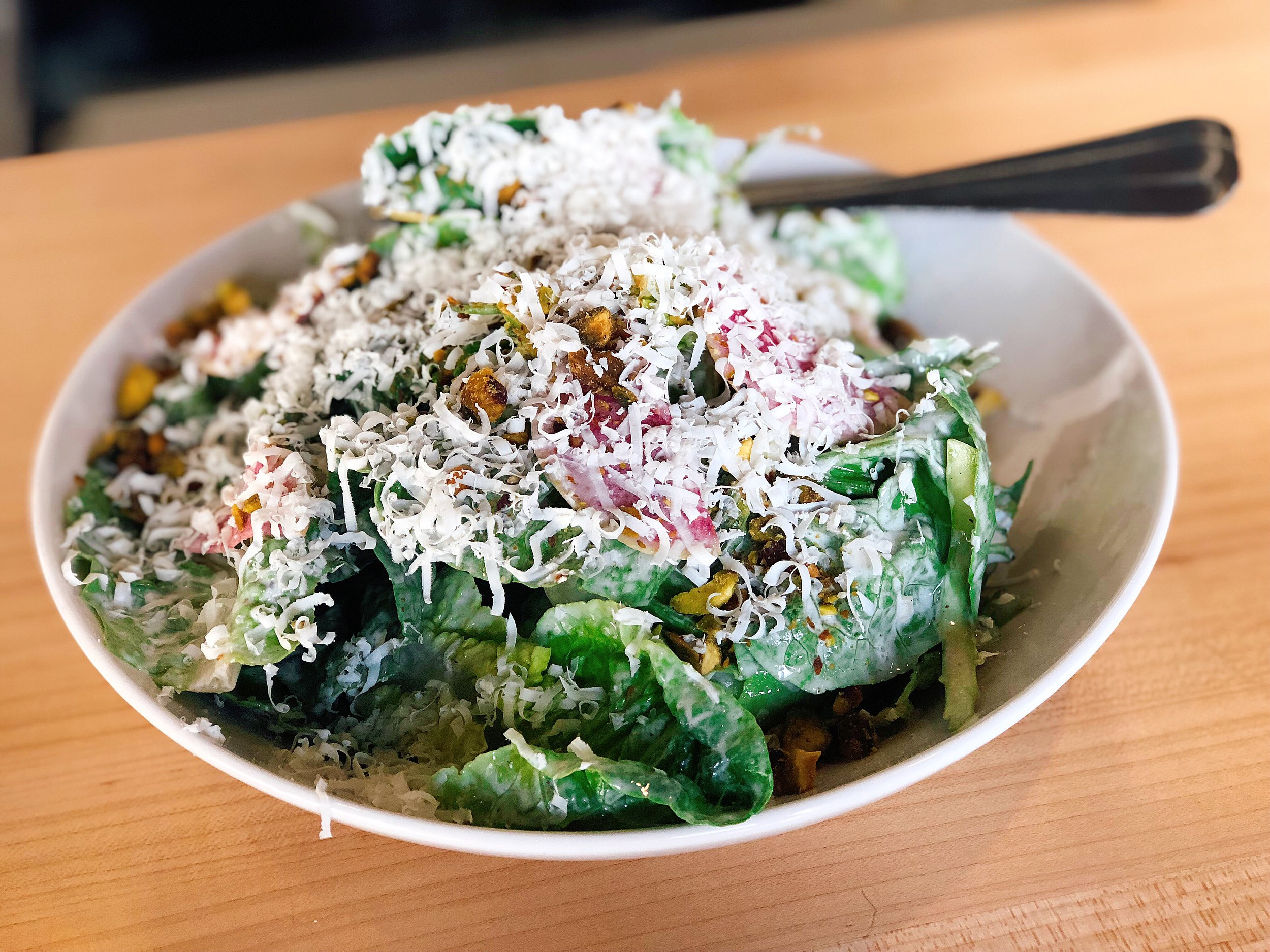 Little Gem   Gem Lettuce + Watermelon Radish + Asparagus + Ricotta Salata + Pistachio + Rosé Yogurt Vinaigrette