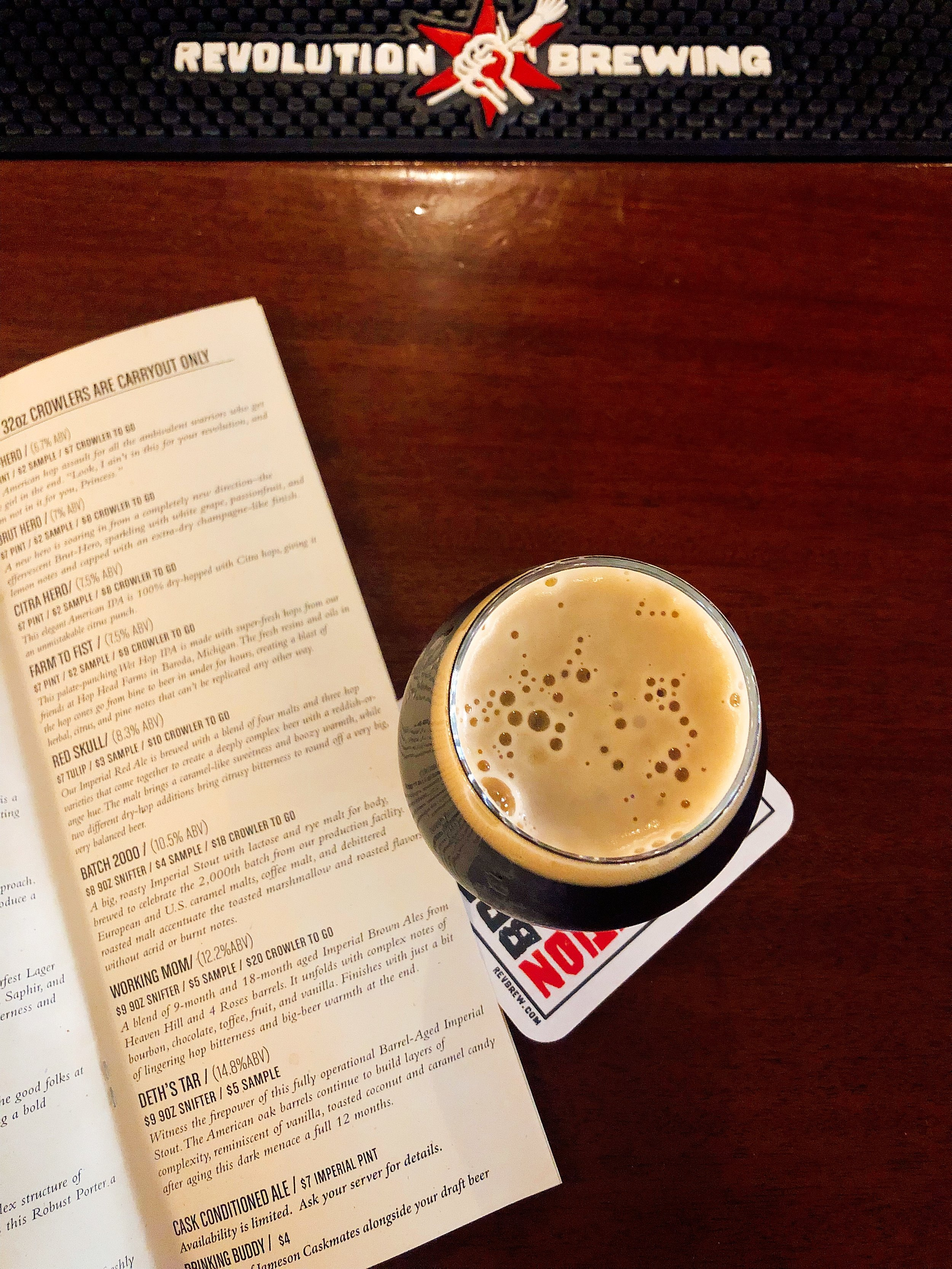 Having A Glass Of The Working Mom At Revolution Brewing