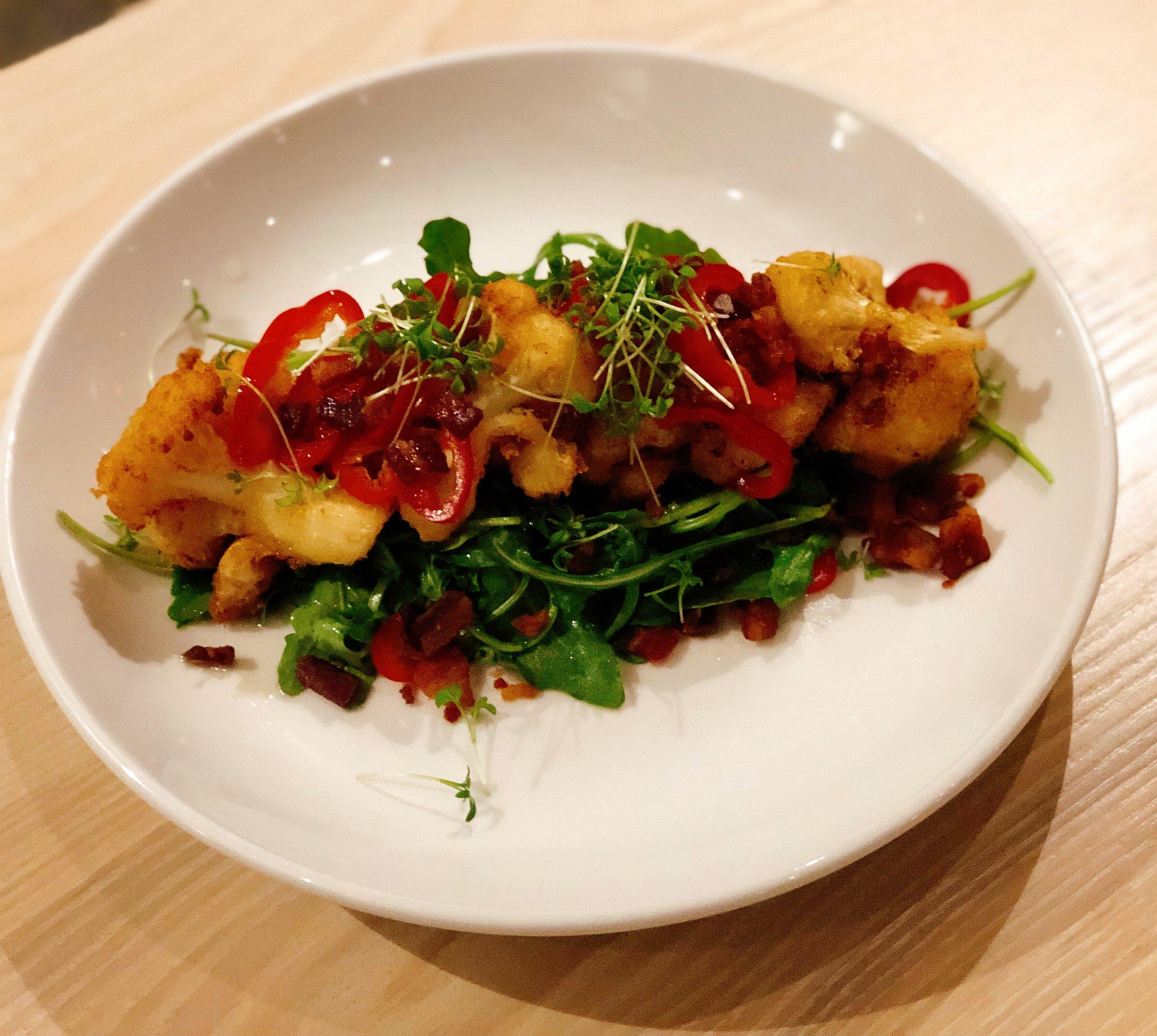 Fried Cauliflower | Gifford's Bacon + Greens + Orange + Fresno