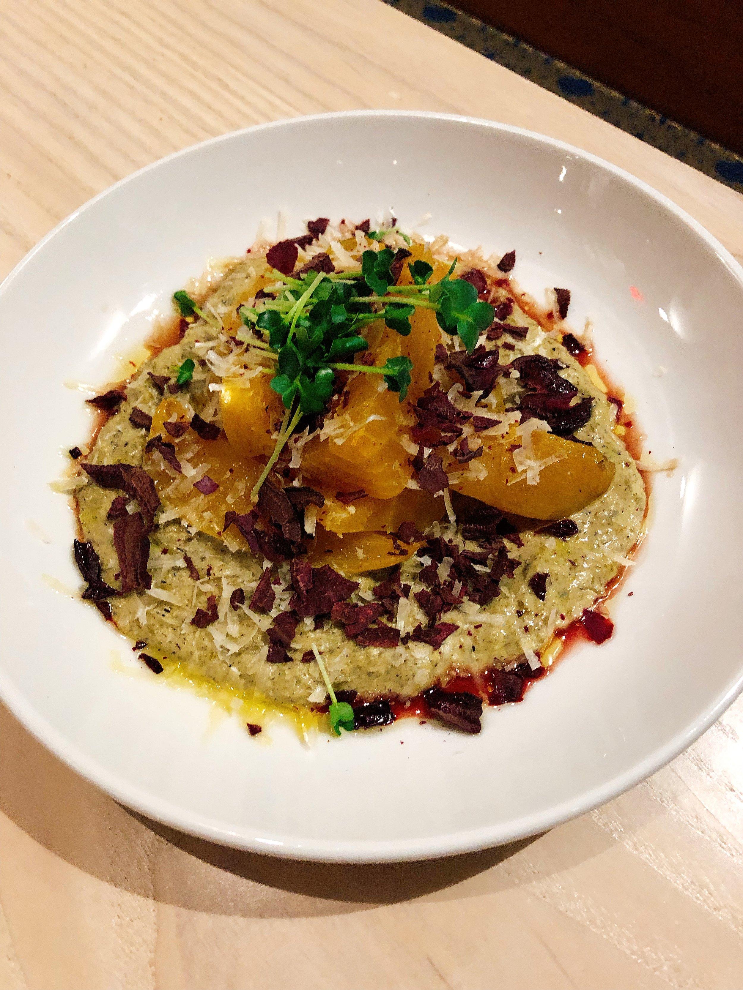 Roasted Beets | Tahini & Grilled Onion Puree + Parmesan