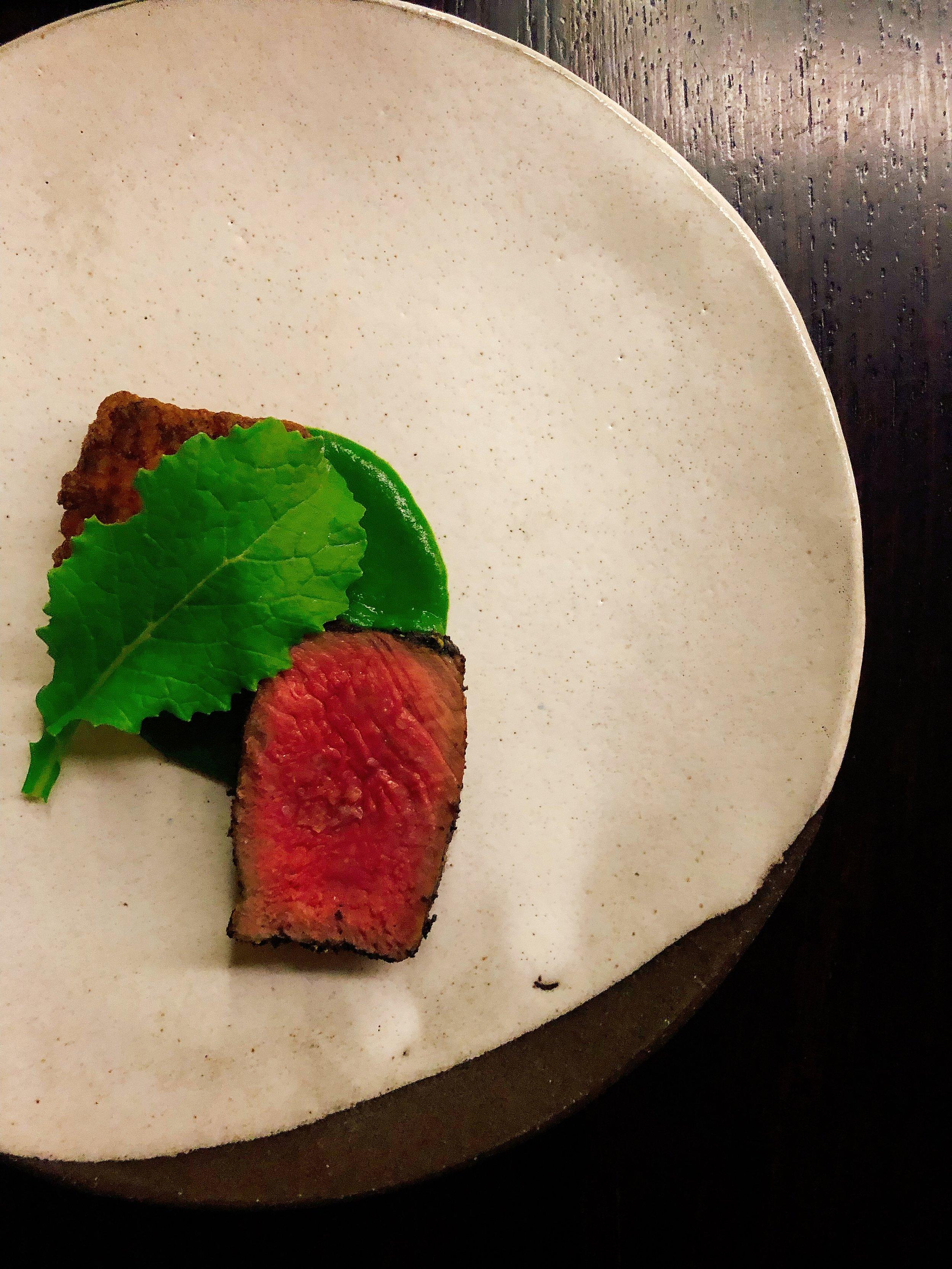 Bearcreek Farm 30 Day Aged Strip Loin In Umami Crust + Catbird Kimchi Fried Rice + Scallion Purèe