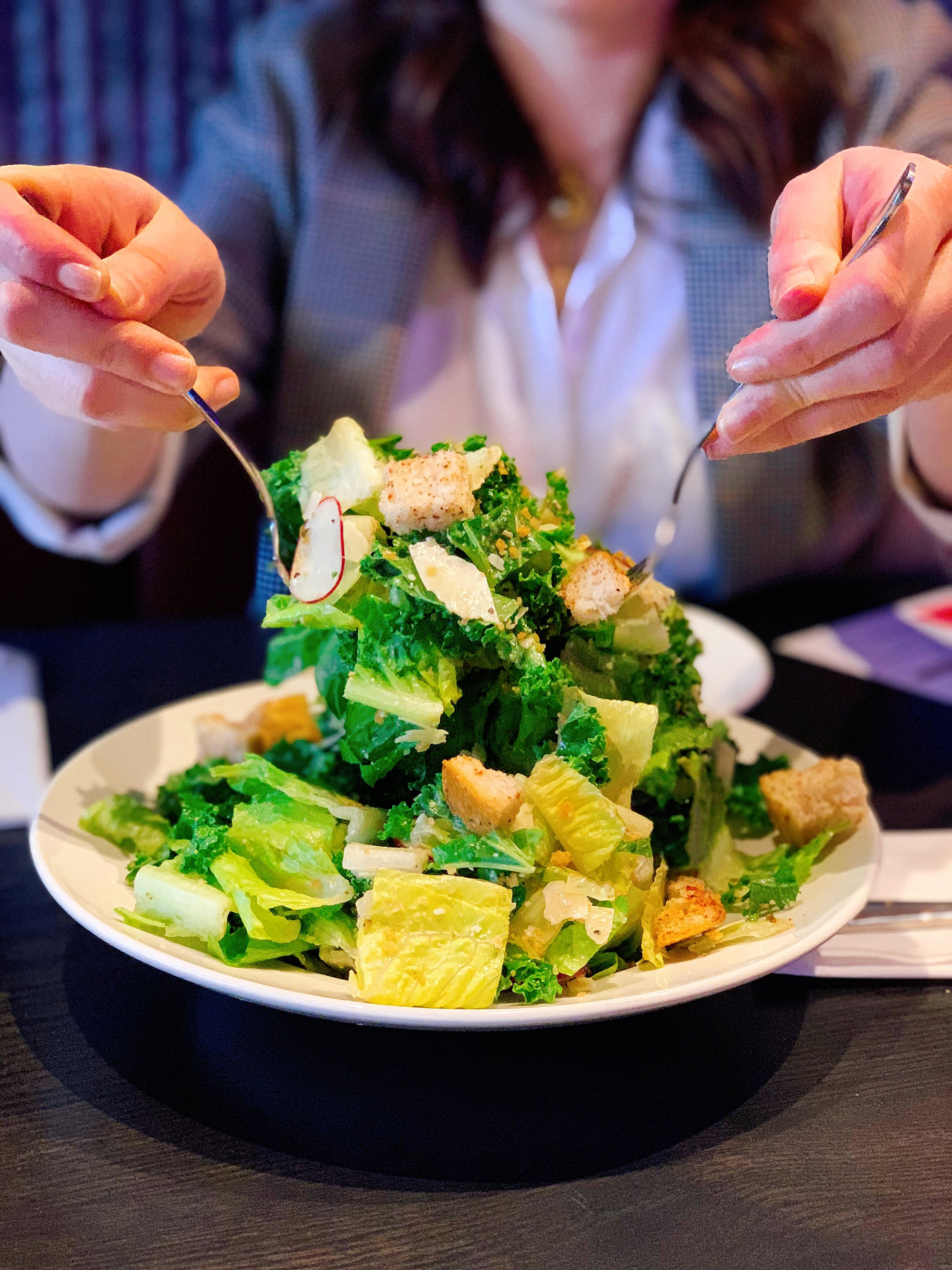 Kale Caesar | Romaine + Green Kale + Radishes + Toasted Panko Breadcrumbs + Shaved Romano + Pizza Croutons + Spicy Caesar dressing