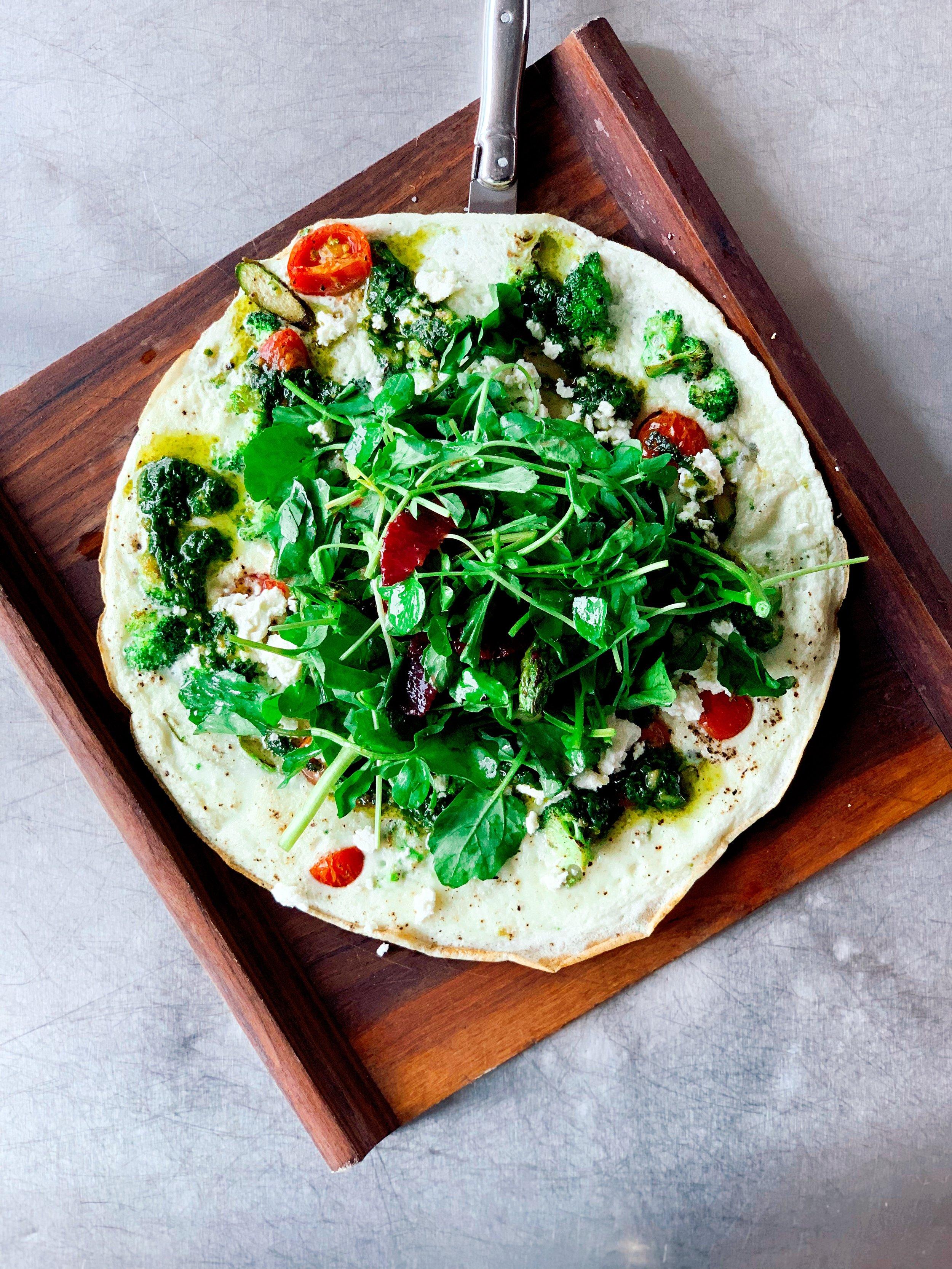 Egg White Frittata | Asparagus + Broccoli + Tomatoes + Feta Cheese + Pistou + Cress Salad