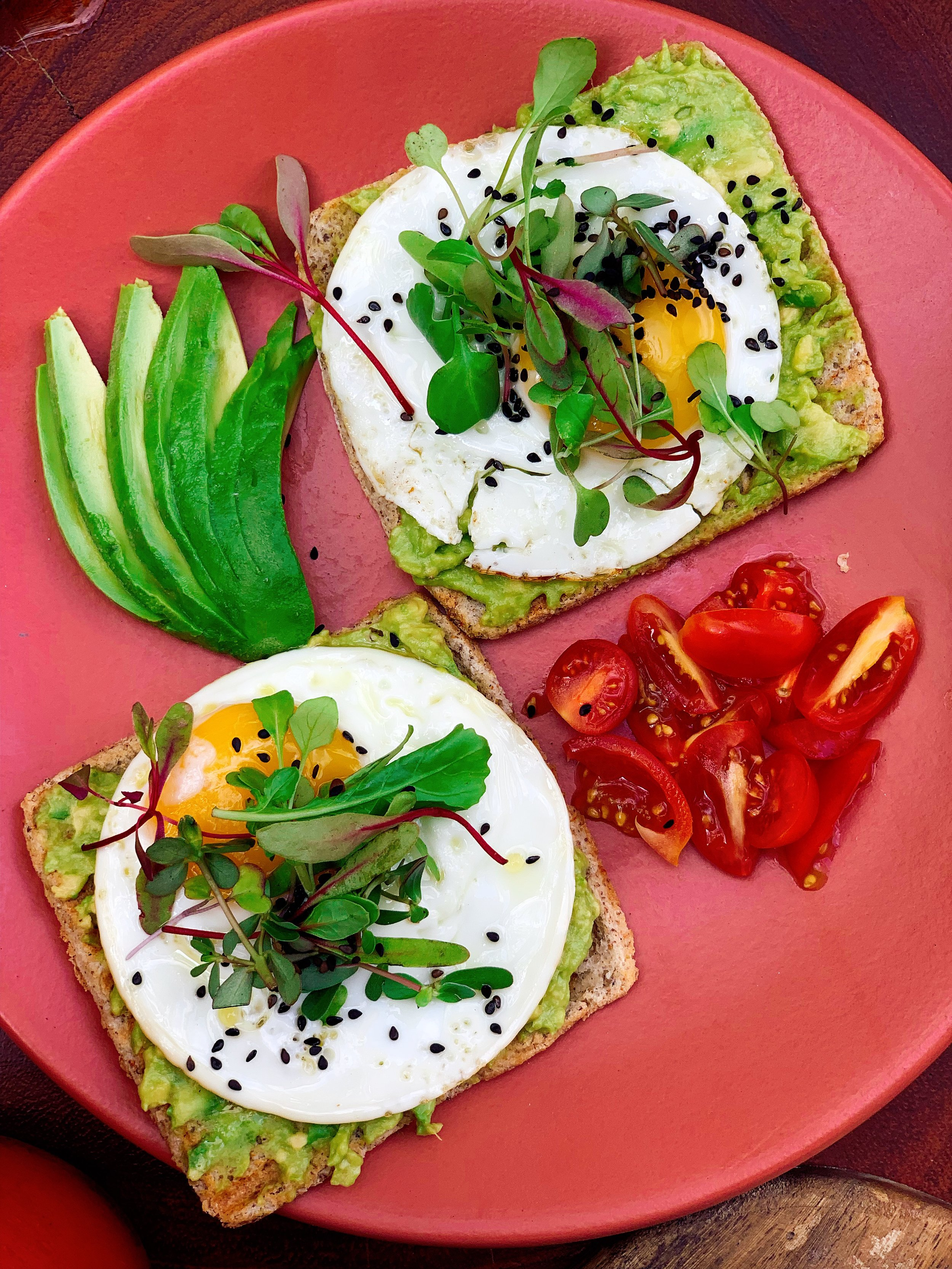 Avocado Toast Topped With Sesame Seeds and Micro Green
