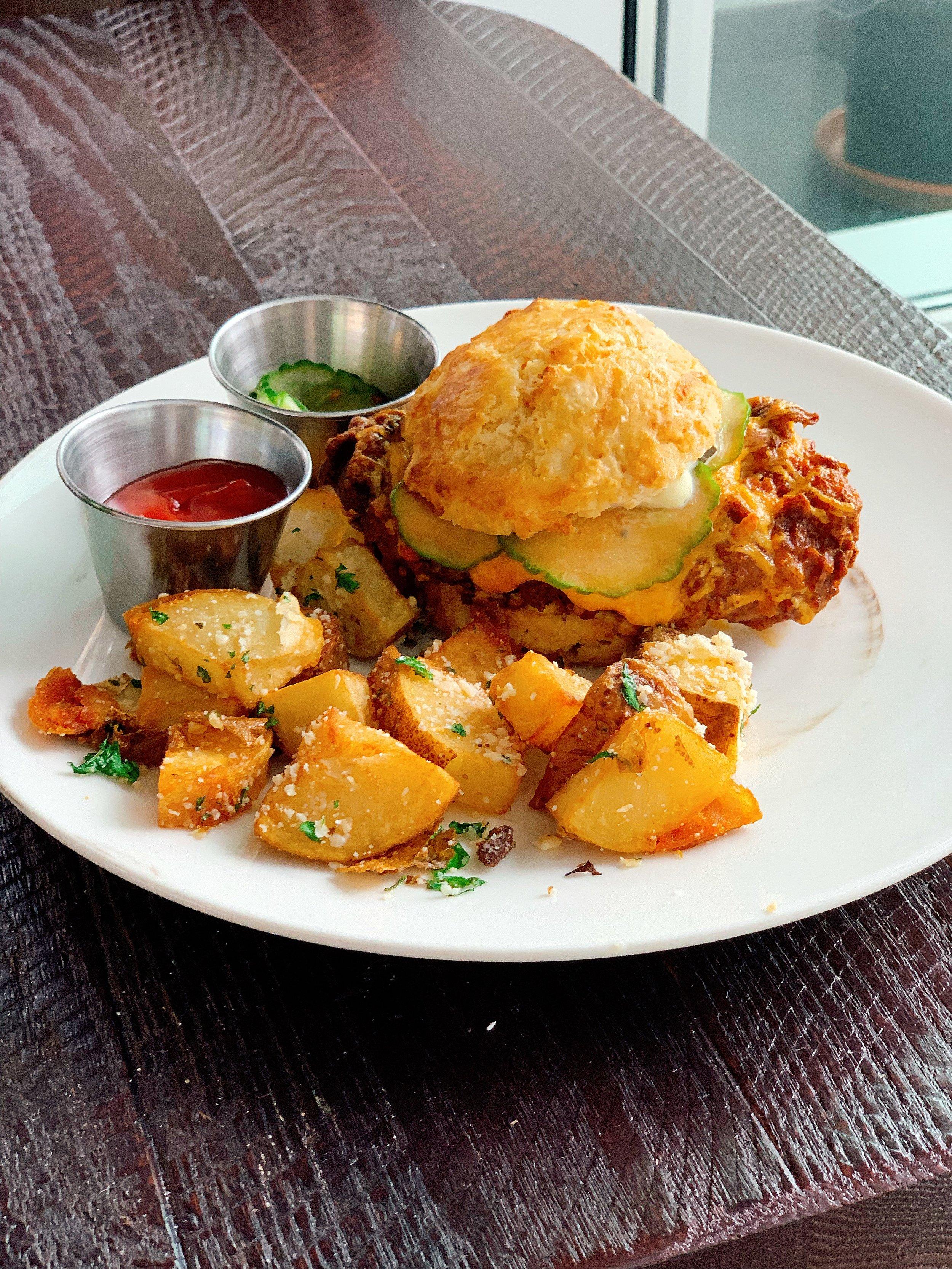 Fried Chicken Biscuit | Breakfast Potatoes