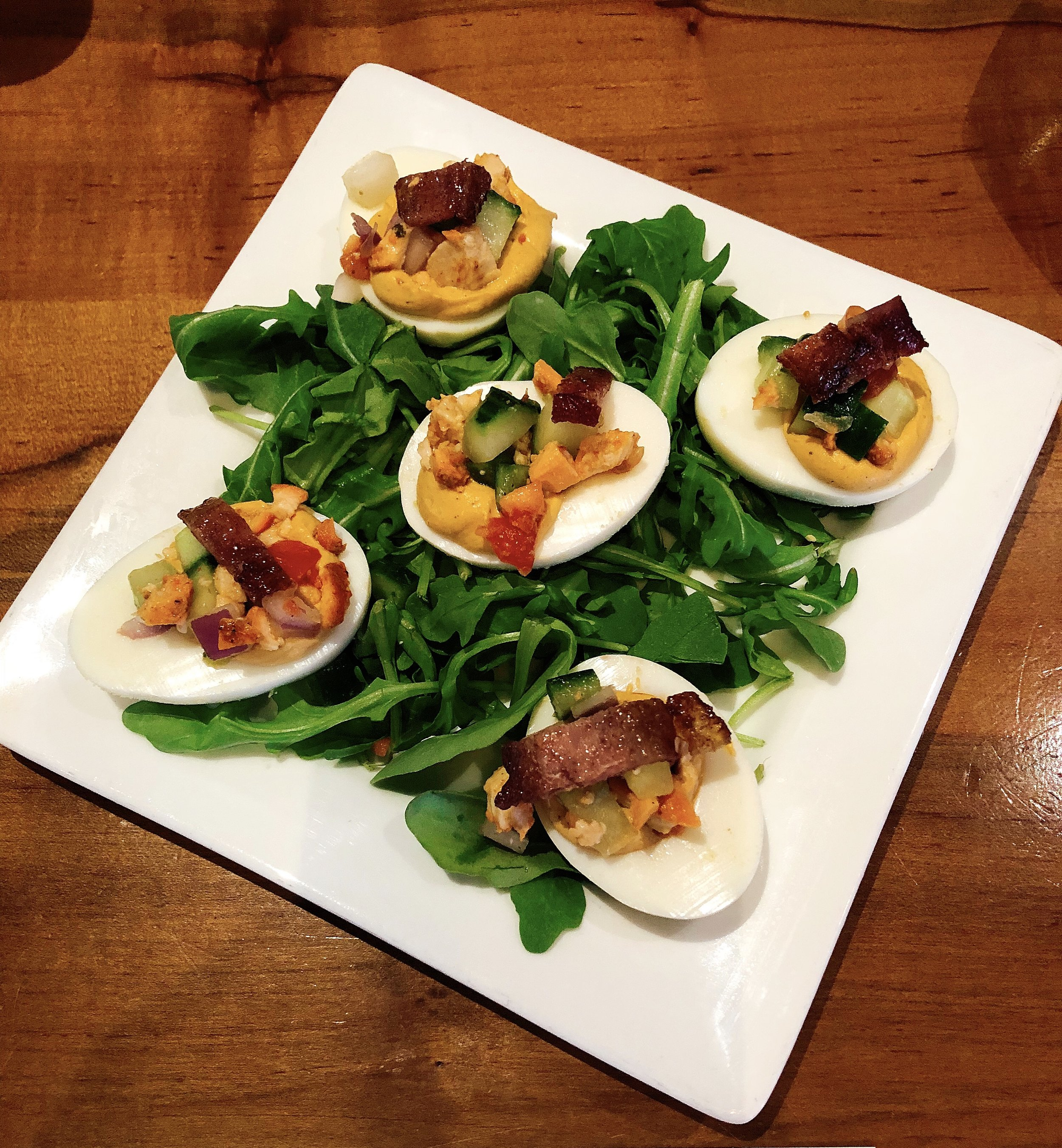 Bacon Chicken Deviled Eggs | Tikka Masala + Tandoori Chicken + Bacon