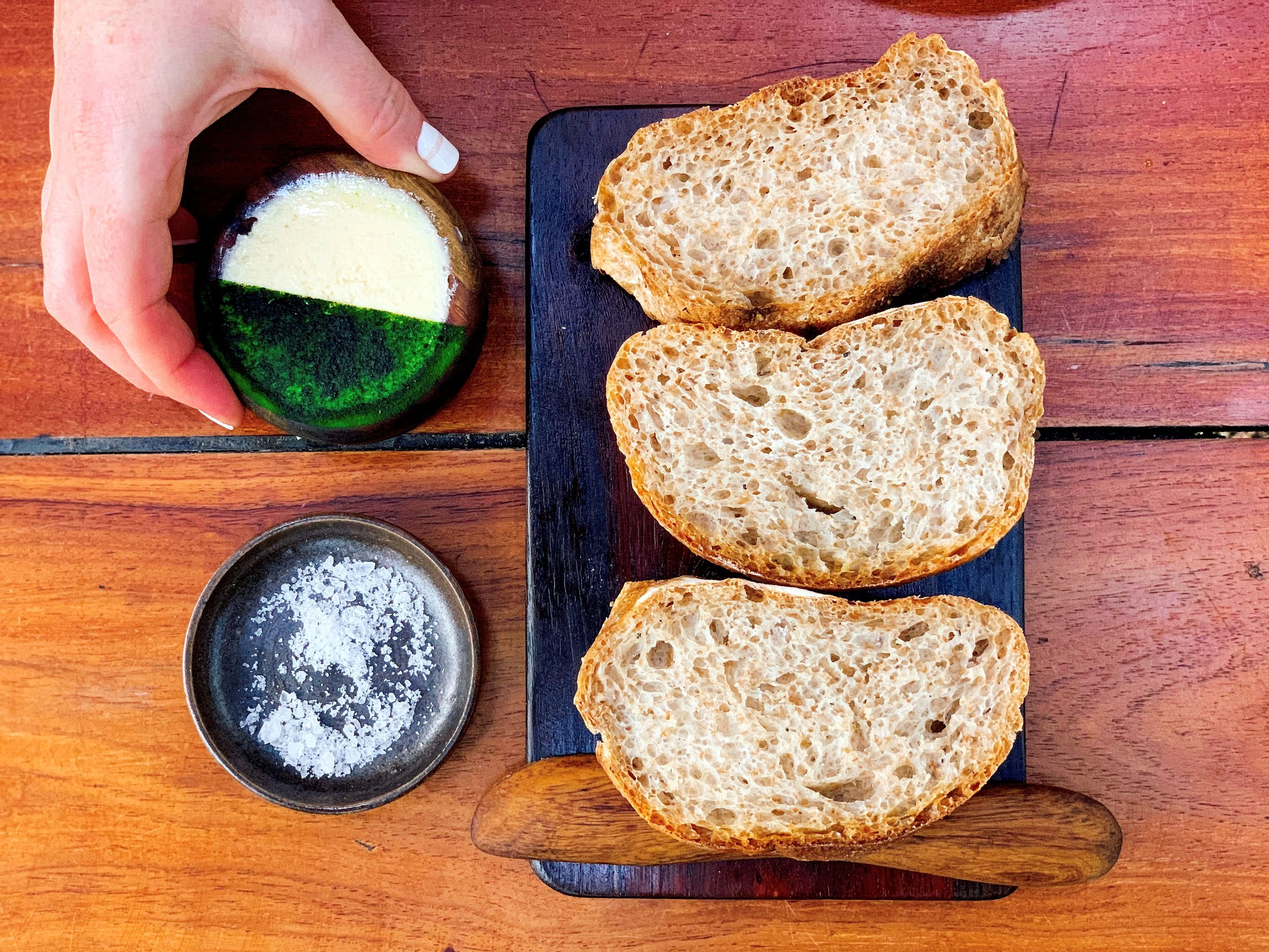 House Pulove Sourdough Bread From The Wood Fire Oven + Local Amish Butter + Mayan Salt From Celestum