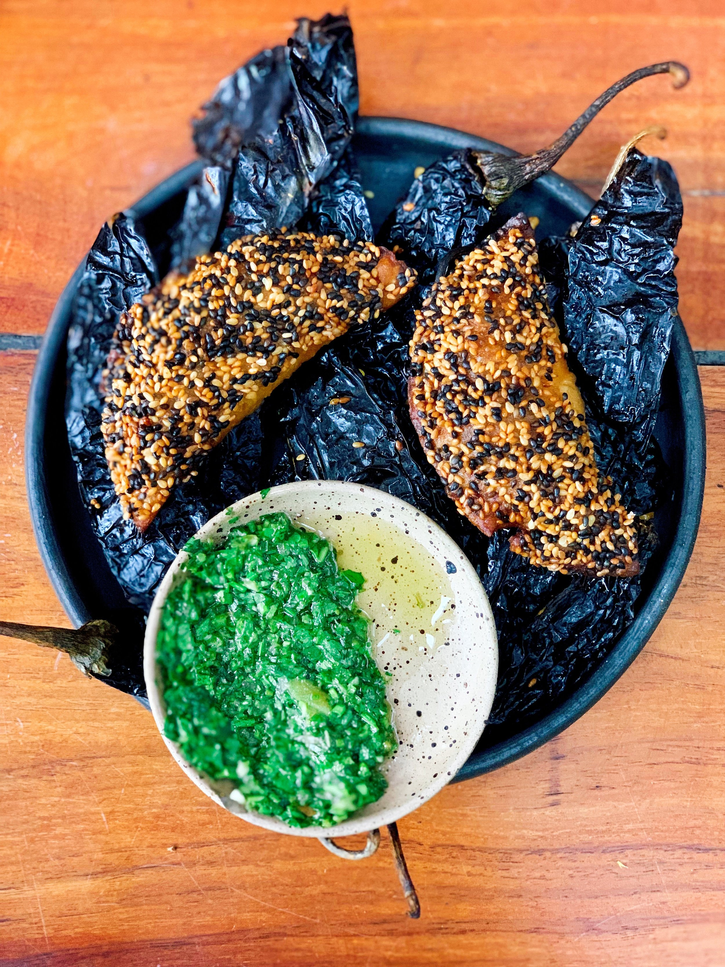 Roasted Local Empanadas + Grilled Oyster Mushrooms + Pinenut Mole + Oaxacan Cheese + Bechamel