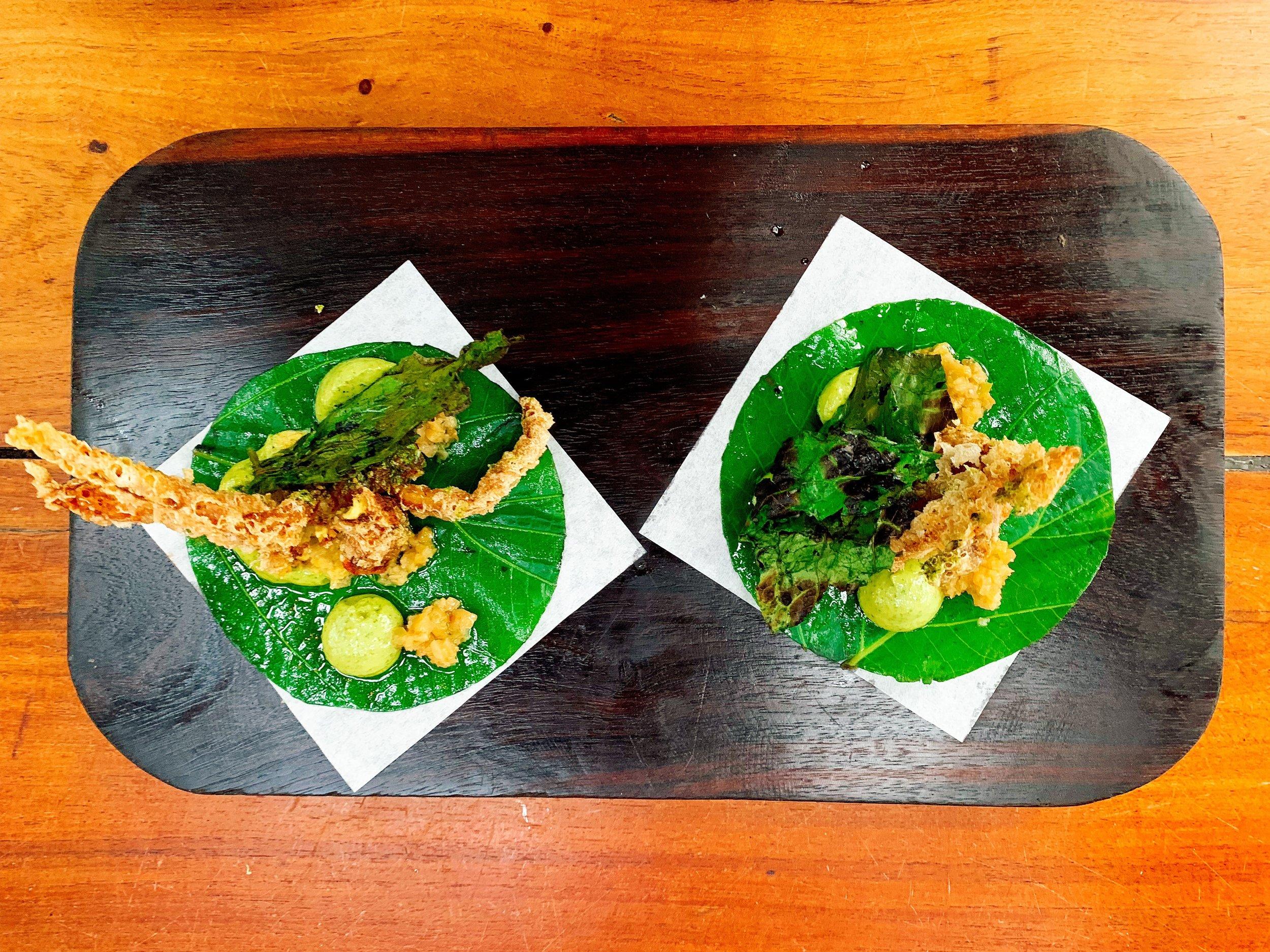 Soft Shelled Crab In Amaranth Tempura Tacos + Grosella And Pickled Habanero Salsa + Hojo Santa Emulsion + Grilled Hojo Santa