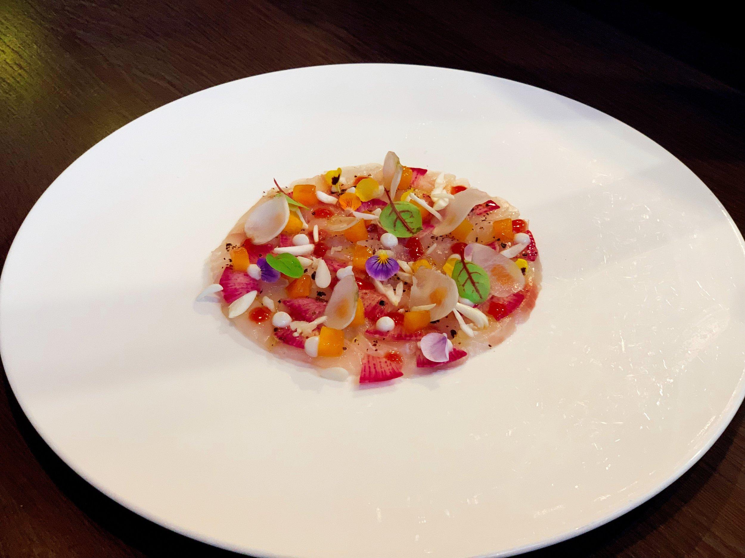Marinated Seabream + Nectarine + Almon