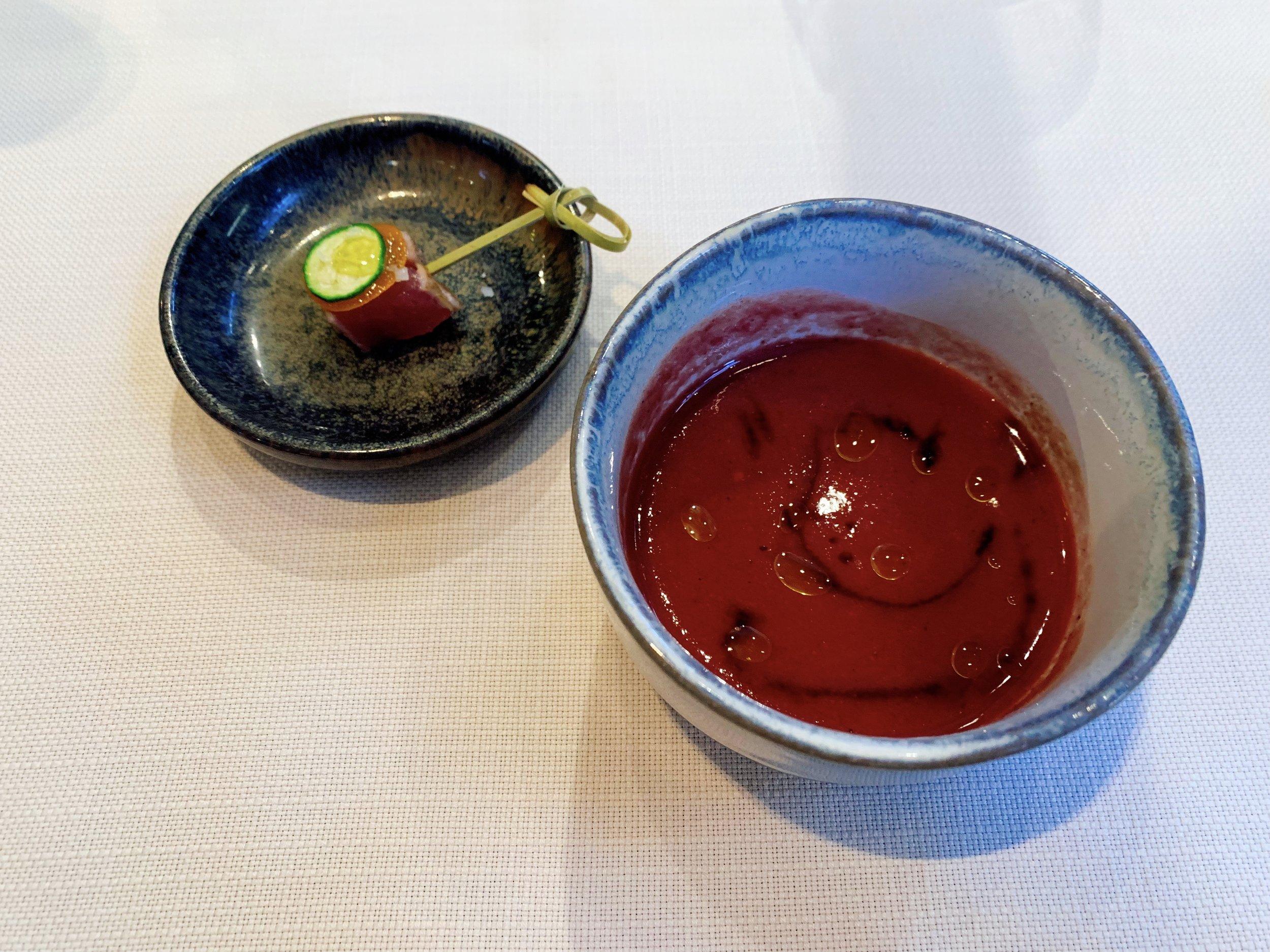 Tuna + Kumquat + Cucumber (Left) Tomato + Cherry Gazpacho (Right)