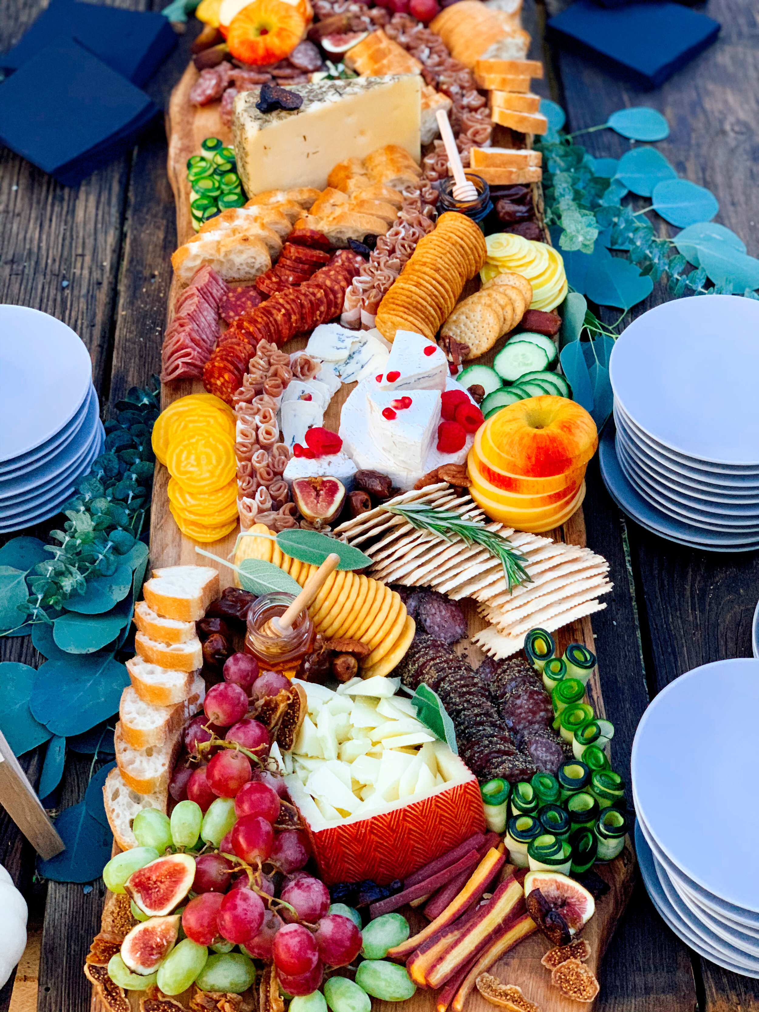 Beautiful Grazing Board In The Chef's Garden At The Green Door Gourmet | Created By: NoshBoards Franklin