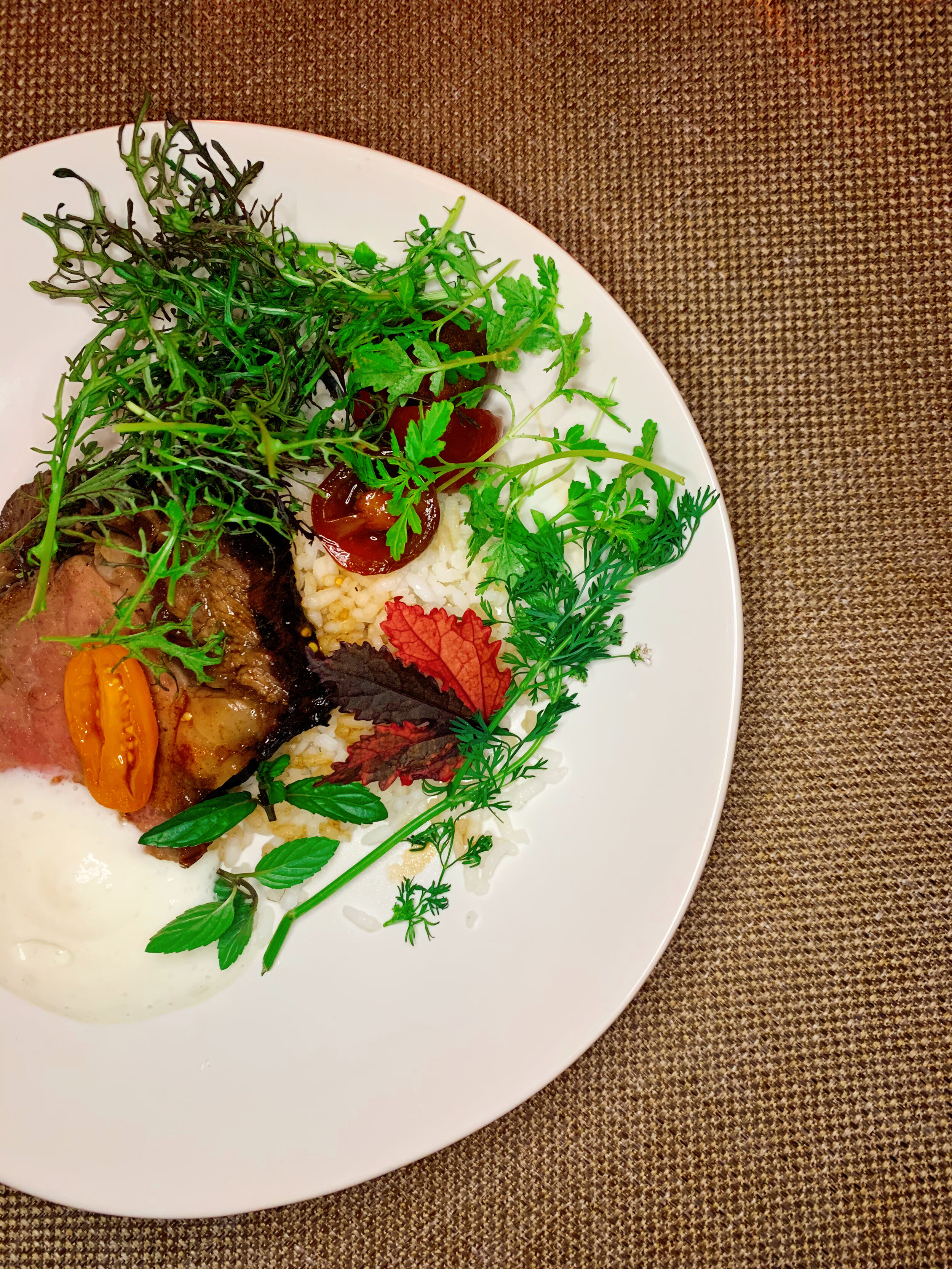 E3 Short Rib | Black Soy + Sunflower Seed Miso + Fragrant Herbs+ Reggiano Sabayon + Carolina Gold Rice