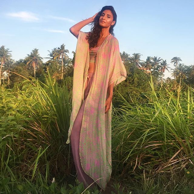 The Desert Rose chiffon kimono is back in its vibrant hues of electric pink and green. As seen here on @glovindria