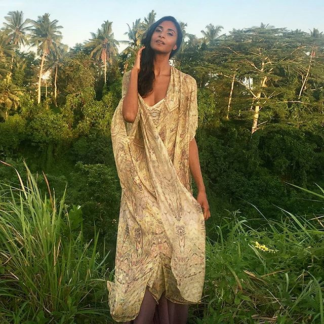 @glovindria in the Madaba long kimono in Silk Chiffon available now