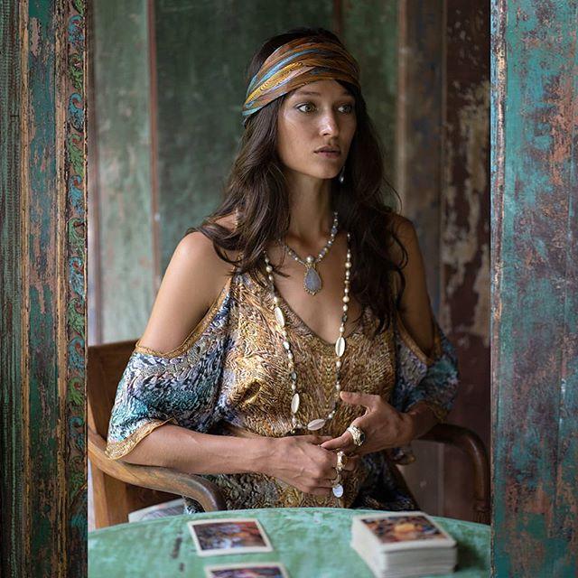 @baliselina in the crystal sea open sleeve long kaftan and arte headscarf. Jewels by @adornedbynoelle