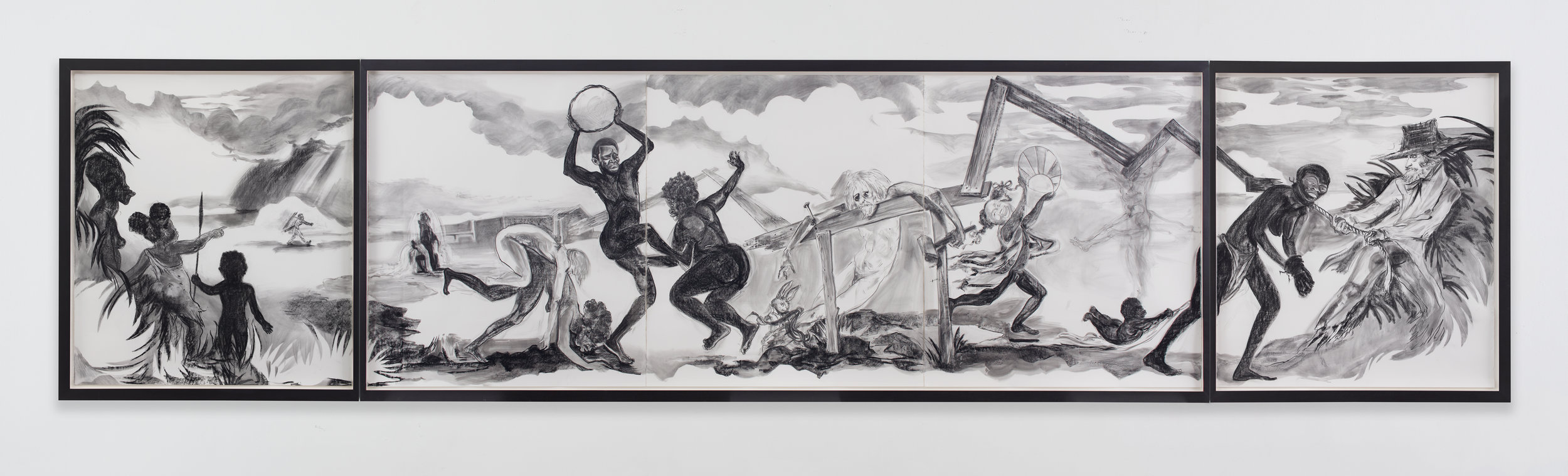Easter Parade in the Old Country ,2016. Kara Walker (American, born 1969). Graphite lumber marker and charcoal on paper;170.2 x 765.2 cm. © Kara Walker, courtesy of Sikkema Jenkins & Co., New York.