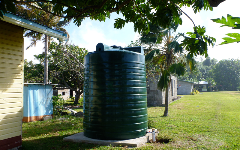 The rain water catchment system we were building in a remote village in the Yasawa Islands, Fiji