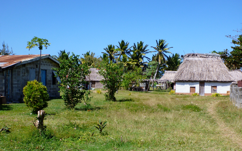 Always hard to find the one house in the village with a metal roof that can be used for the rain water catchment system. Most of the Yasawa Island villages are still built of small dwellings with palm roofs.